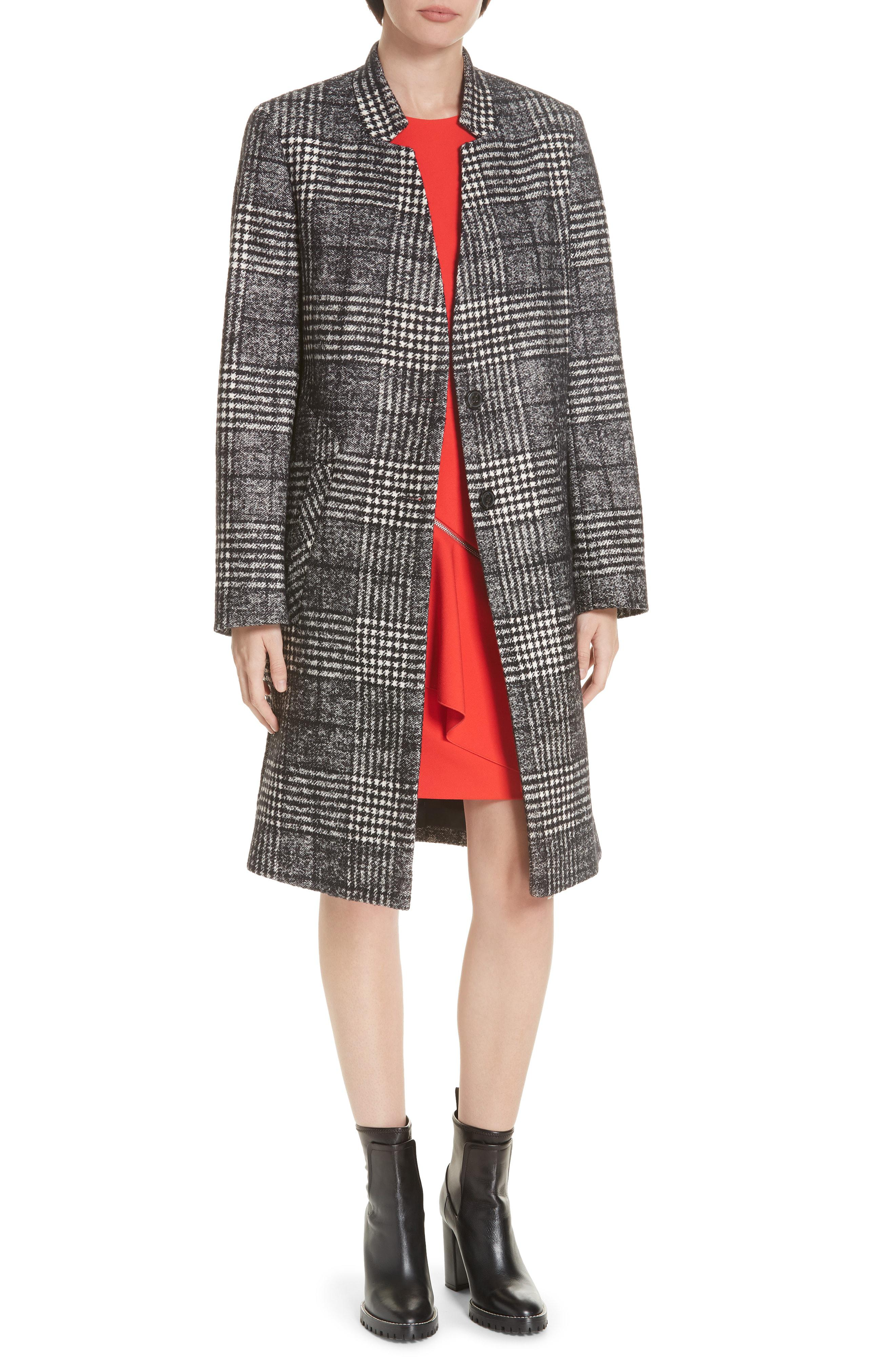 b7f16d348038 HUGO. Women s Magrete Bold Check Stretch Cotton Wool Coat