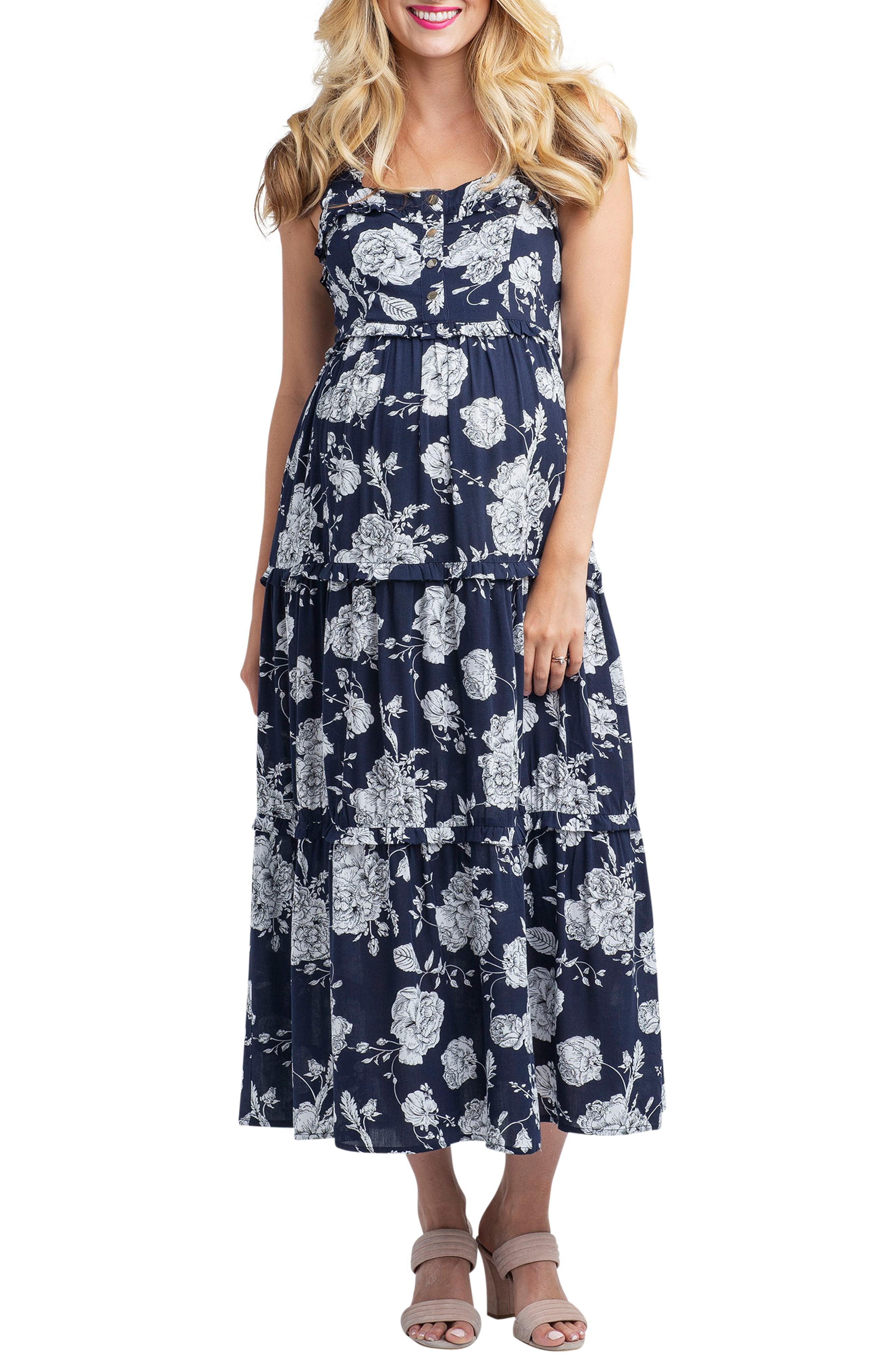 5199b61c104ee Lyst - Nom Maternity Emma Maternity/nursing Midi Dress in Blue