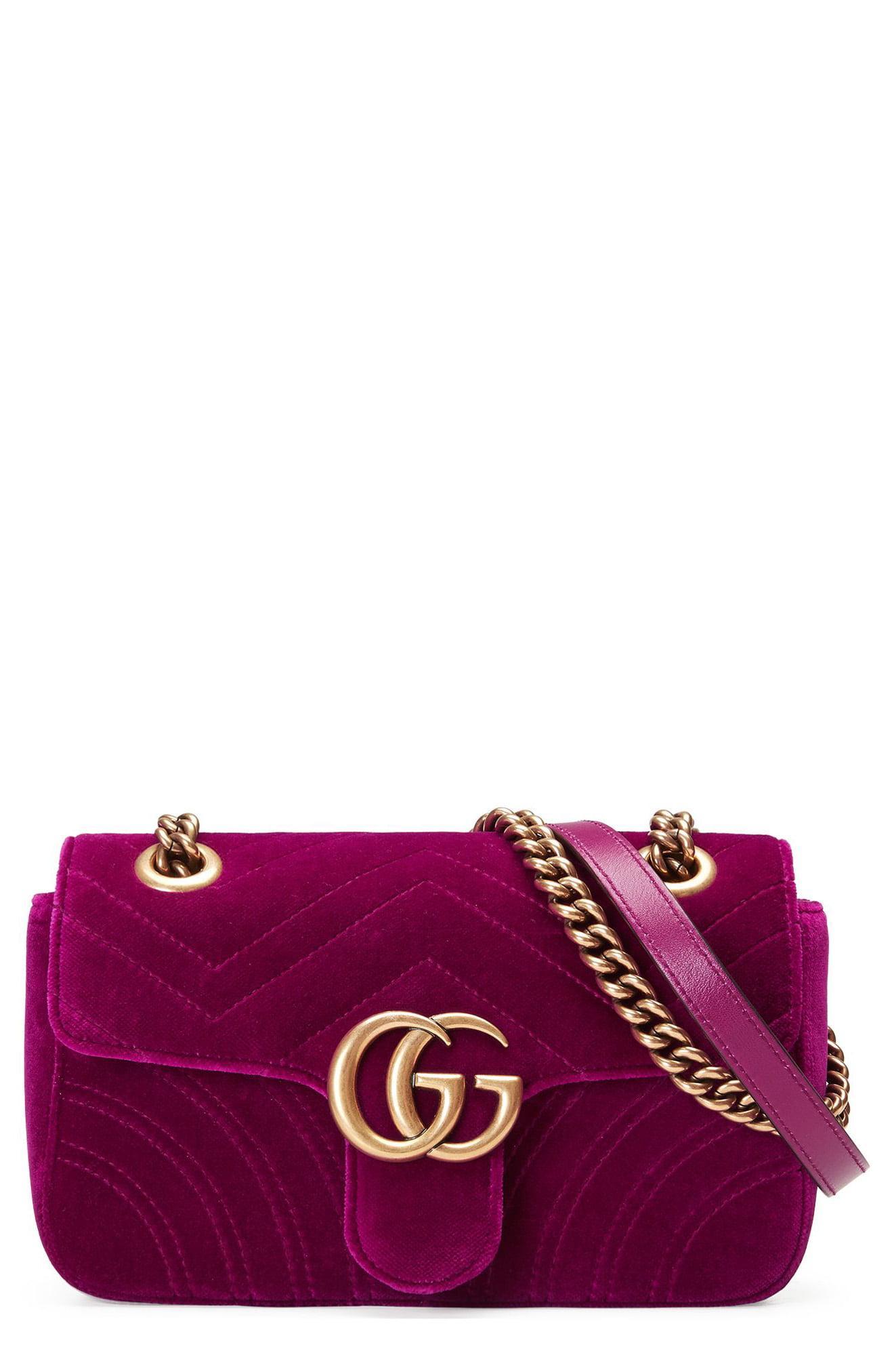 c2808f2b2f0 Gucci. Women s Purple Small Gg Marmont 2.0 Matelassé Velvet Shoulder Bag -