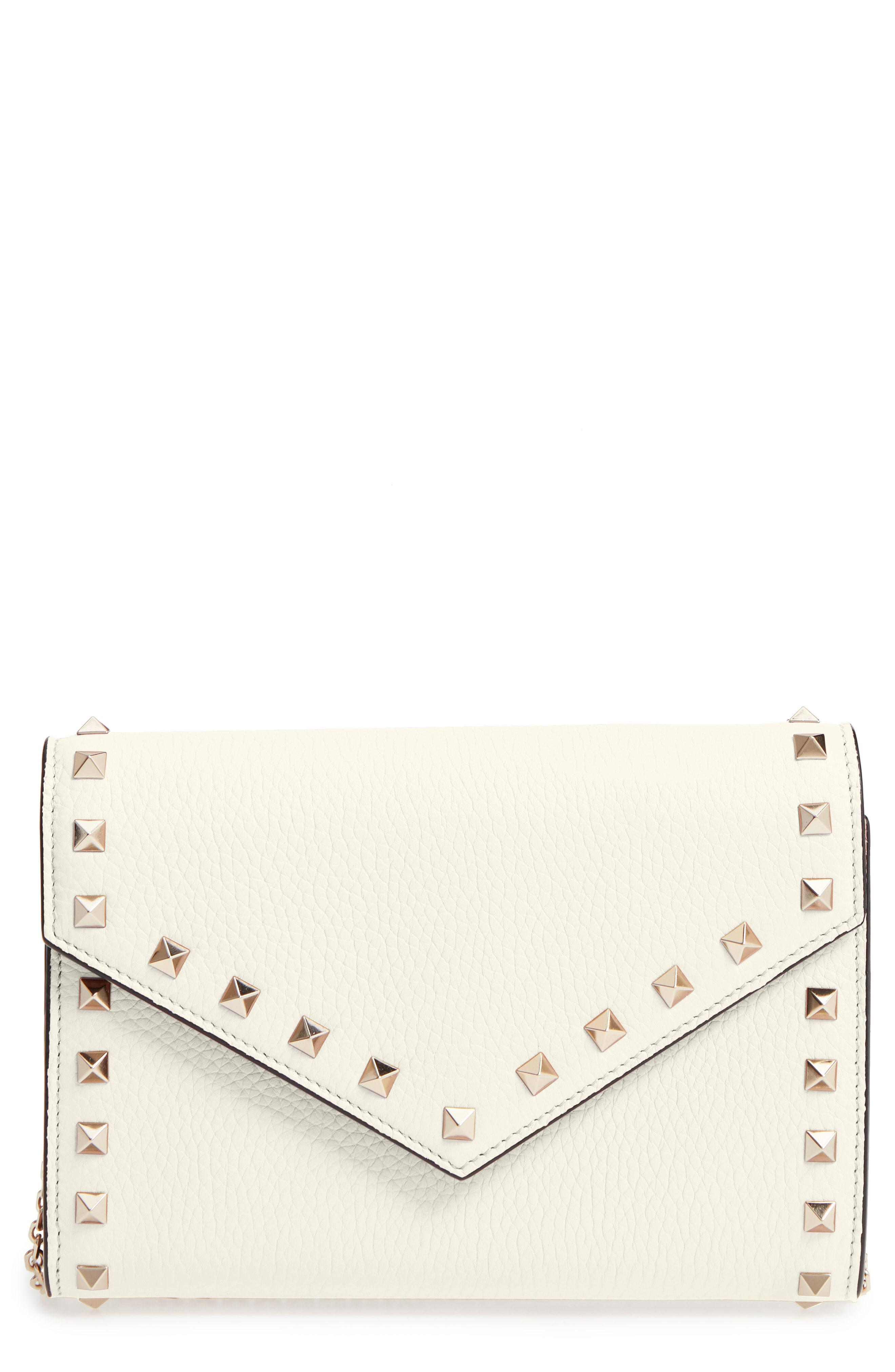 a1f8d85c34e93 Lyst - Valentino Rocktstud V-flap Calfskin Leather Wallet On A Chain ...