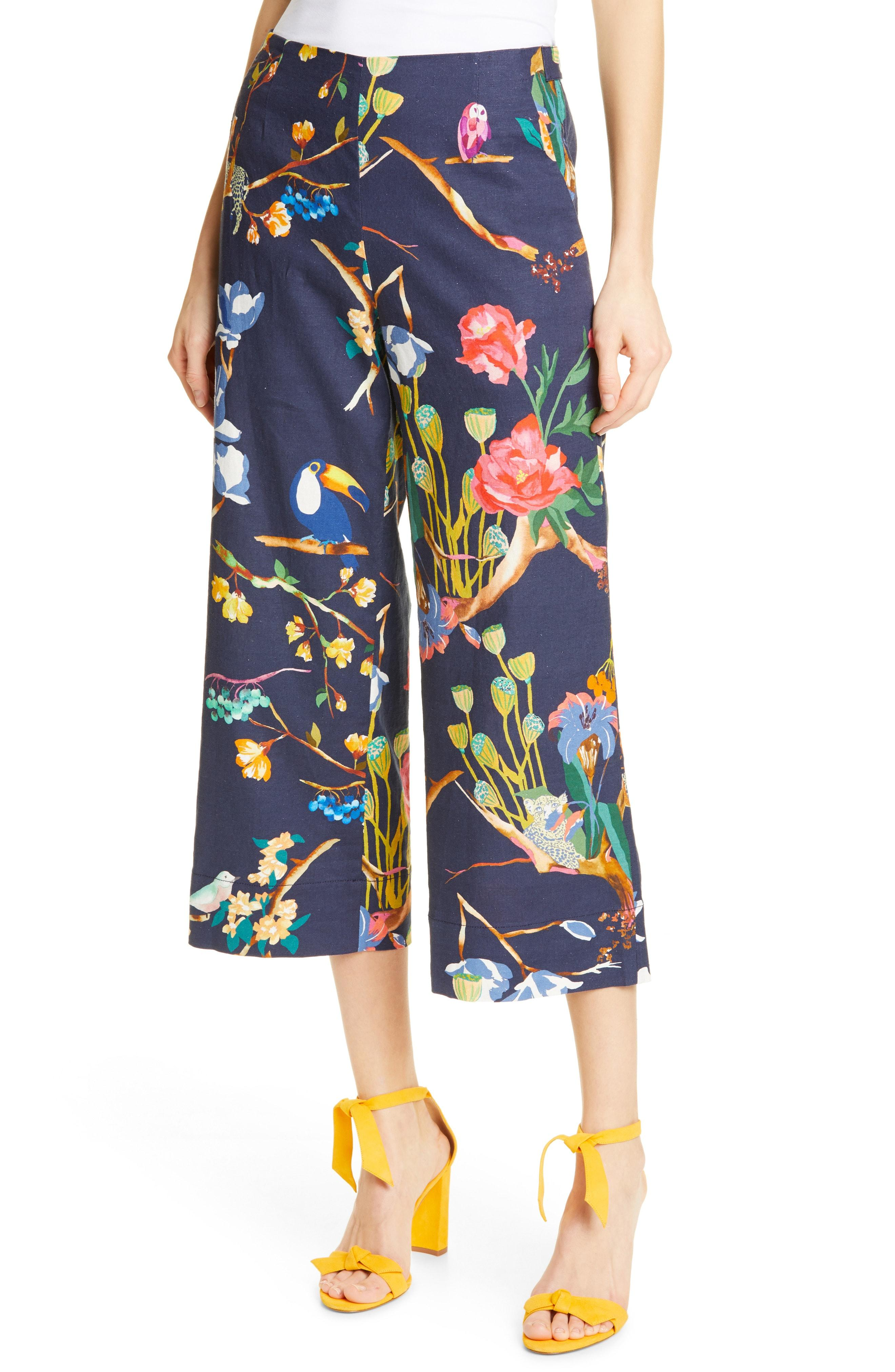 9f1a3bcc2b Lyst - Tanya Taylor Evelyn Wide Leg Crop Linen Blend Pants in Blue