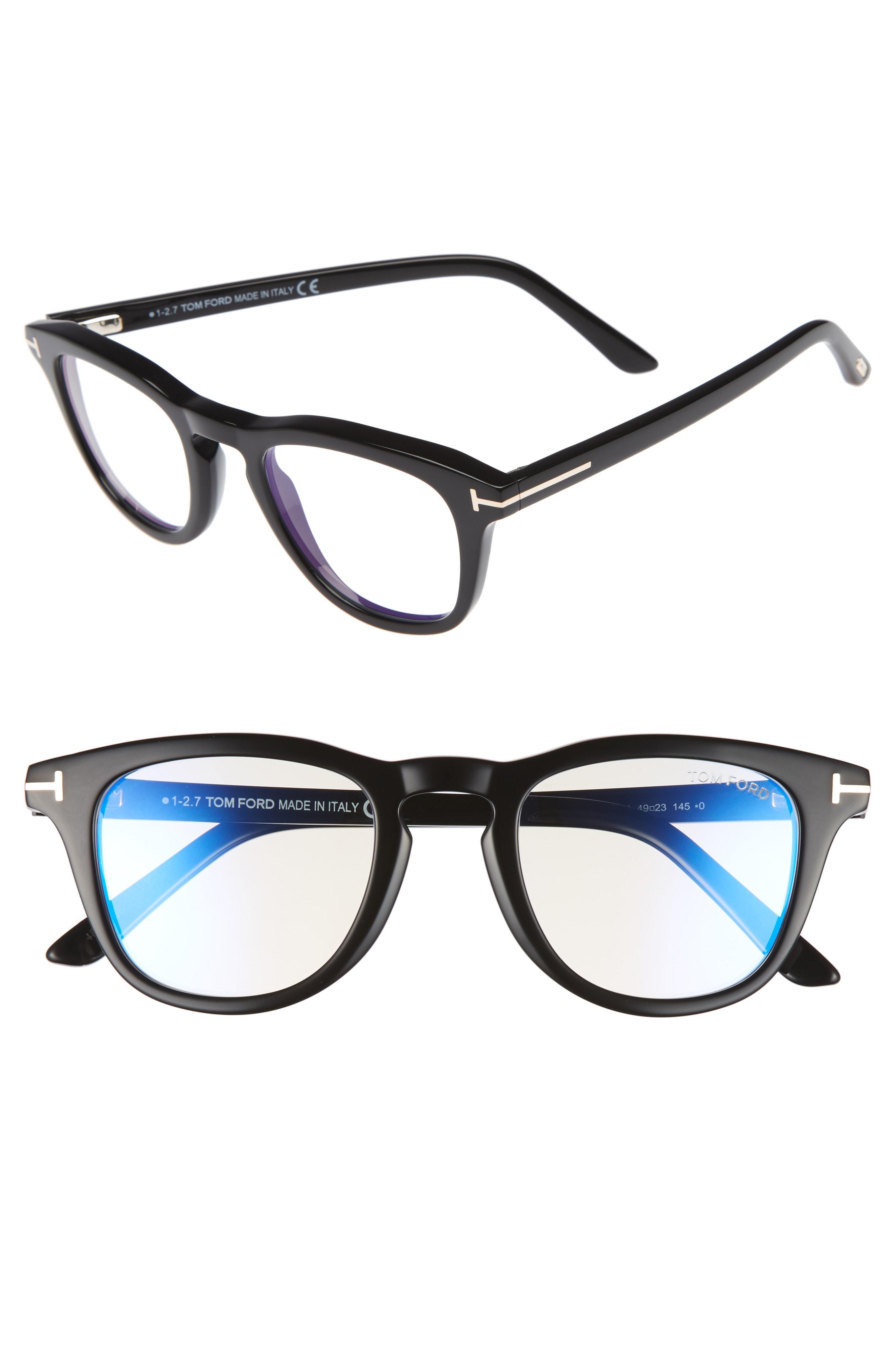 654d09c634 Lyst - Tom Ford 49mm Blue Light Blocking Glasses - Shiny Black  Blue ...