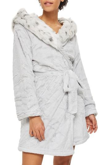 Lyst - TOPSHOP Faux Fur Hooded Short Robe in Gray f8fab612e