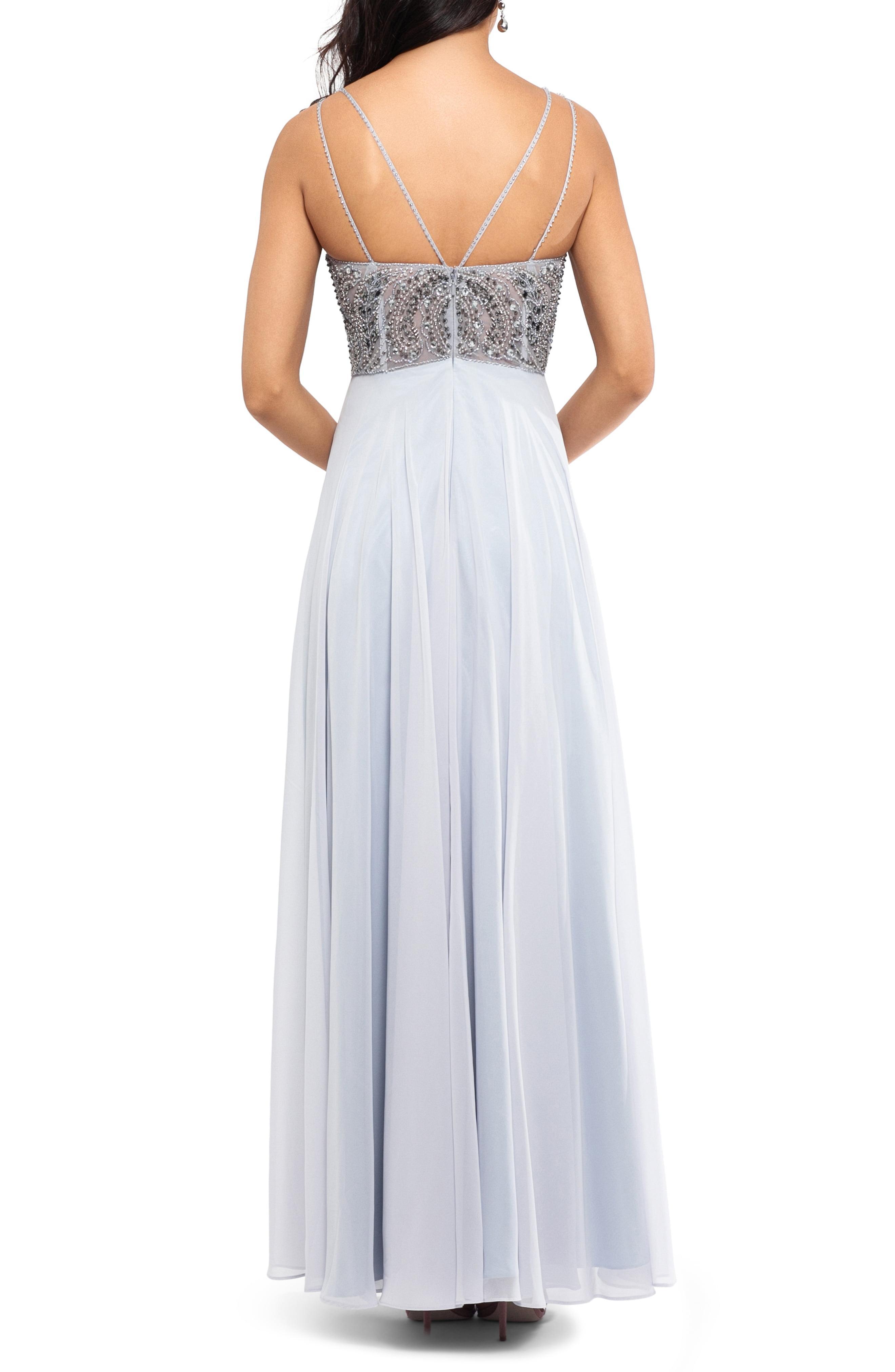 bb743fa3 Xscape - Metallic Embellished Illusion Bodice V-neck Chiffon Evening Dress  - Lyst. View fullscreen