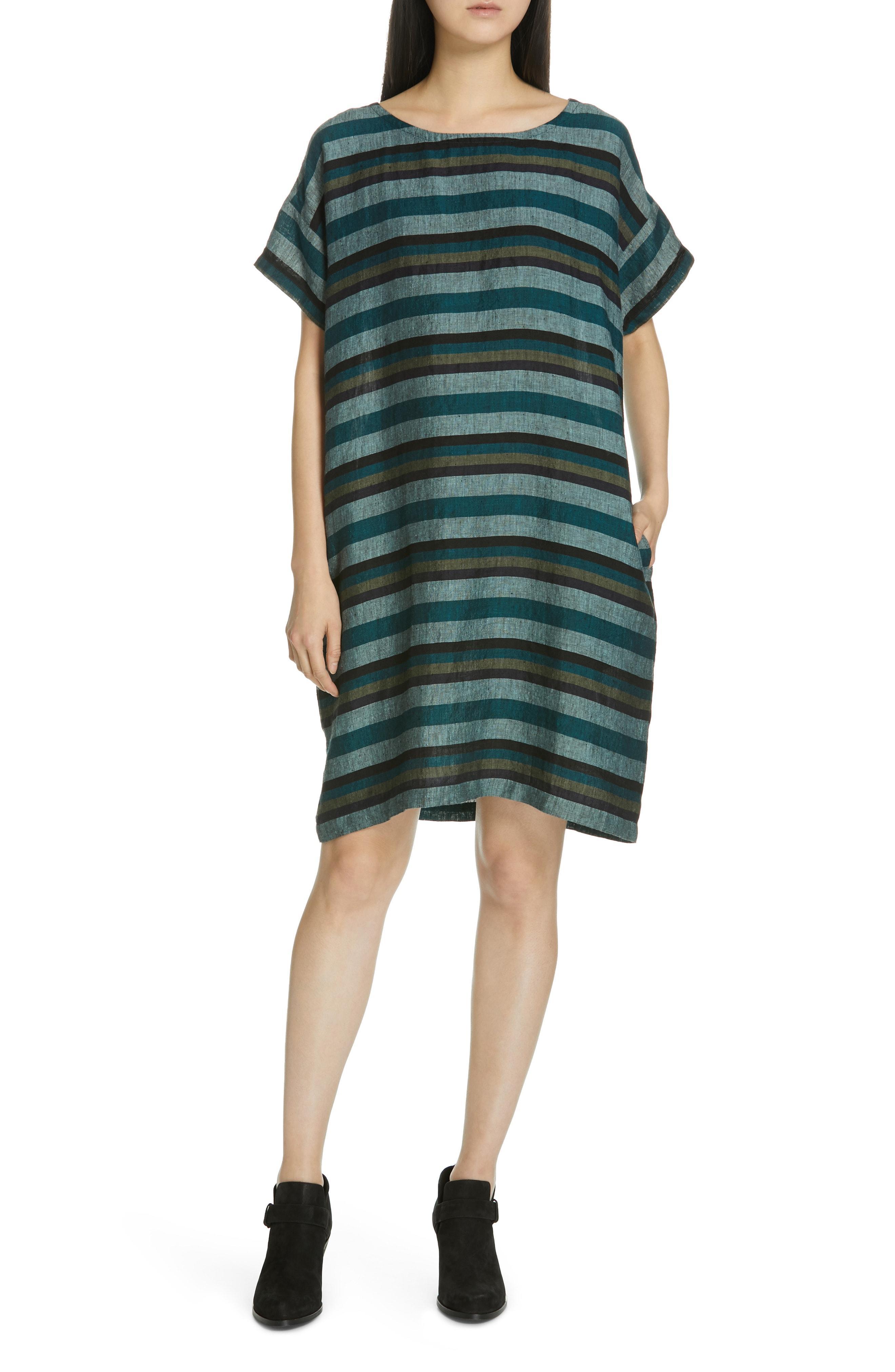 f4370462364 Lyst - Eileen Fisher Stripe Linen Shift Dress in Green - Save 45%