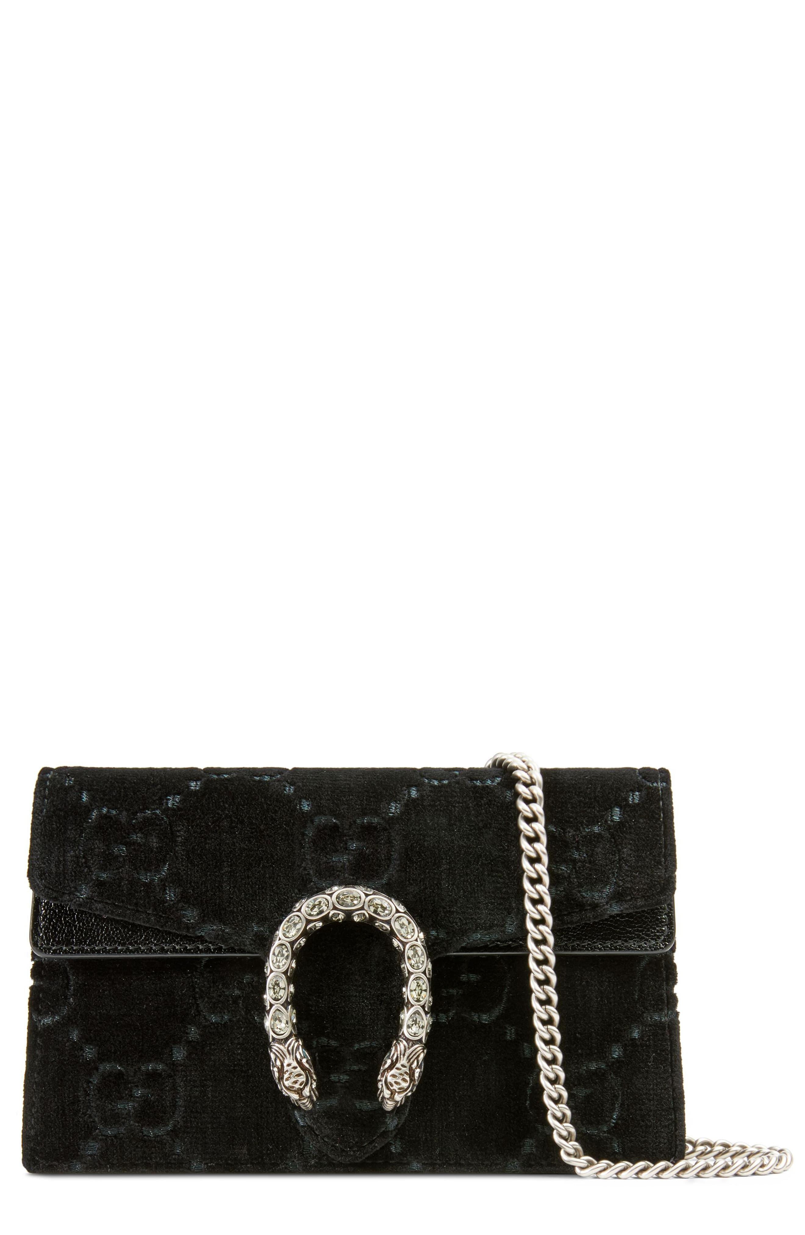 7251bd91abceed Gucci Supermini Dionysus Double G Velvet Shoulder Bag - in Black - Lyst