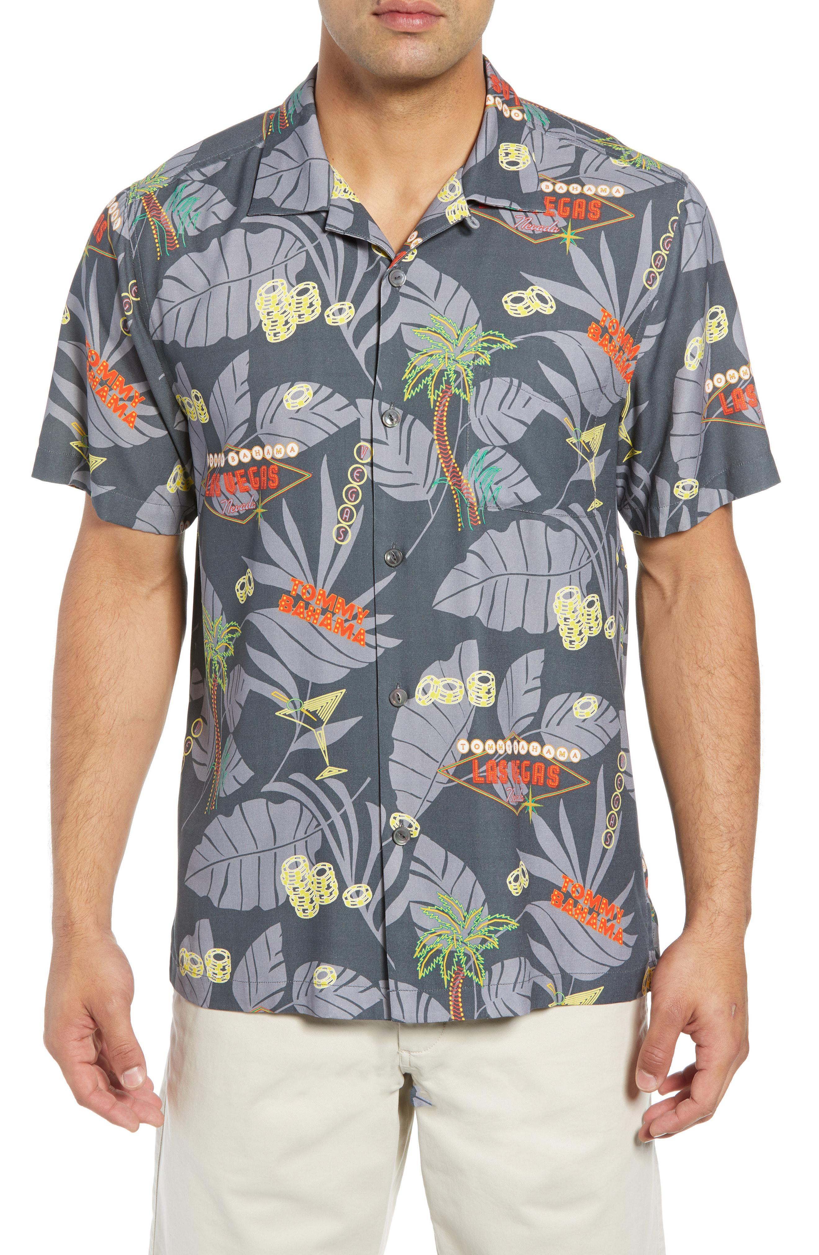 50b94b07 Lyst - Tommy Bahama Poker In Paradise Silk Camp Shirt in Black for Men