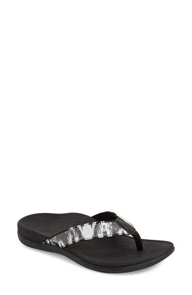Vionic Tide Sequin Flip Flops In Silver White Black  Lyst-8367