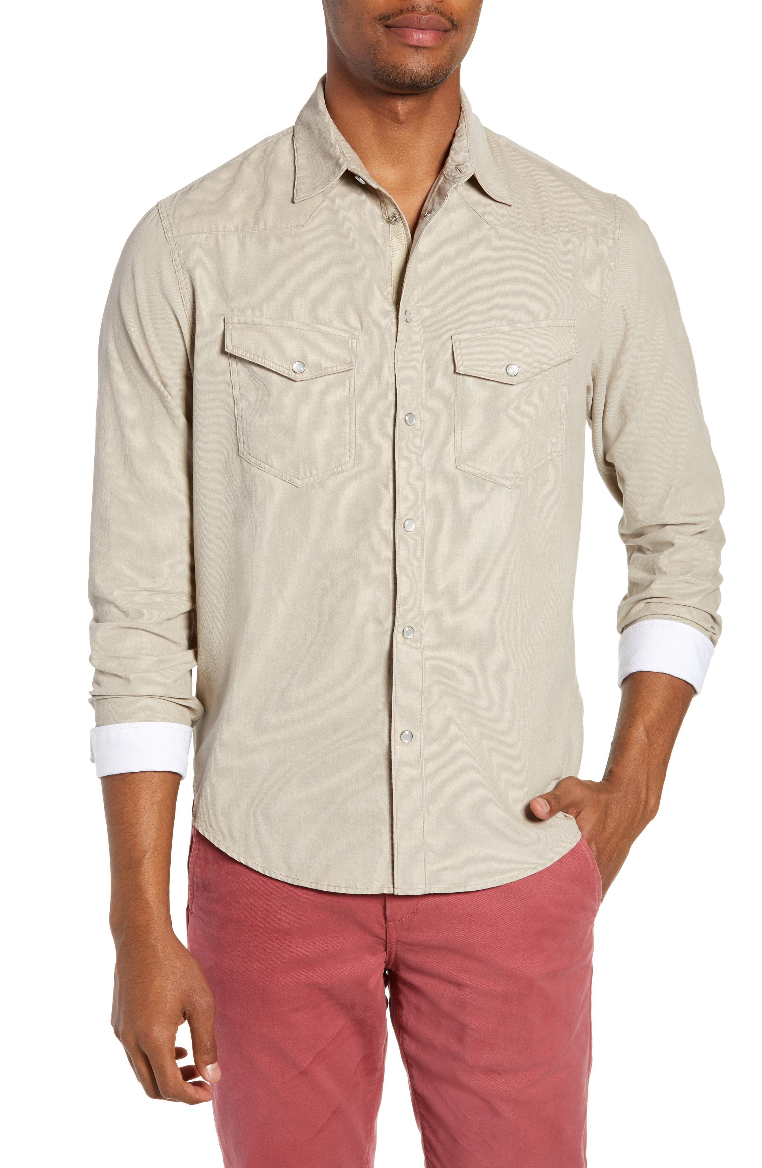8a672614 Lyst - Rag & Bone Beck Slim Fit Corduroy Sport Shirt in Natural for Men