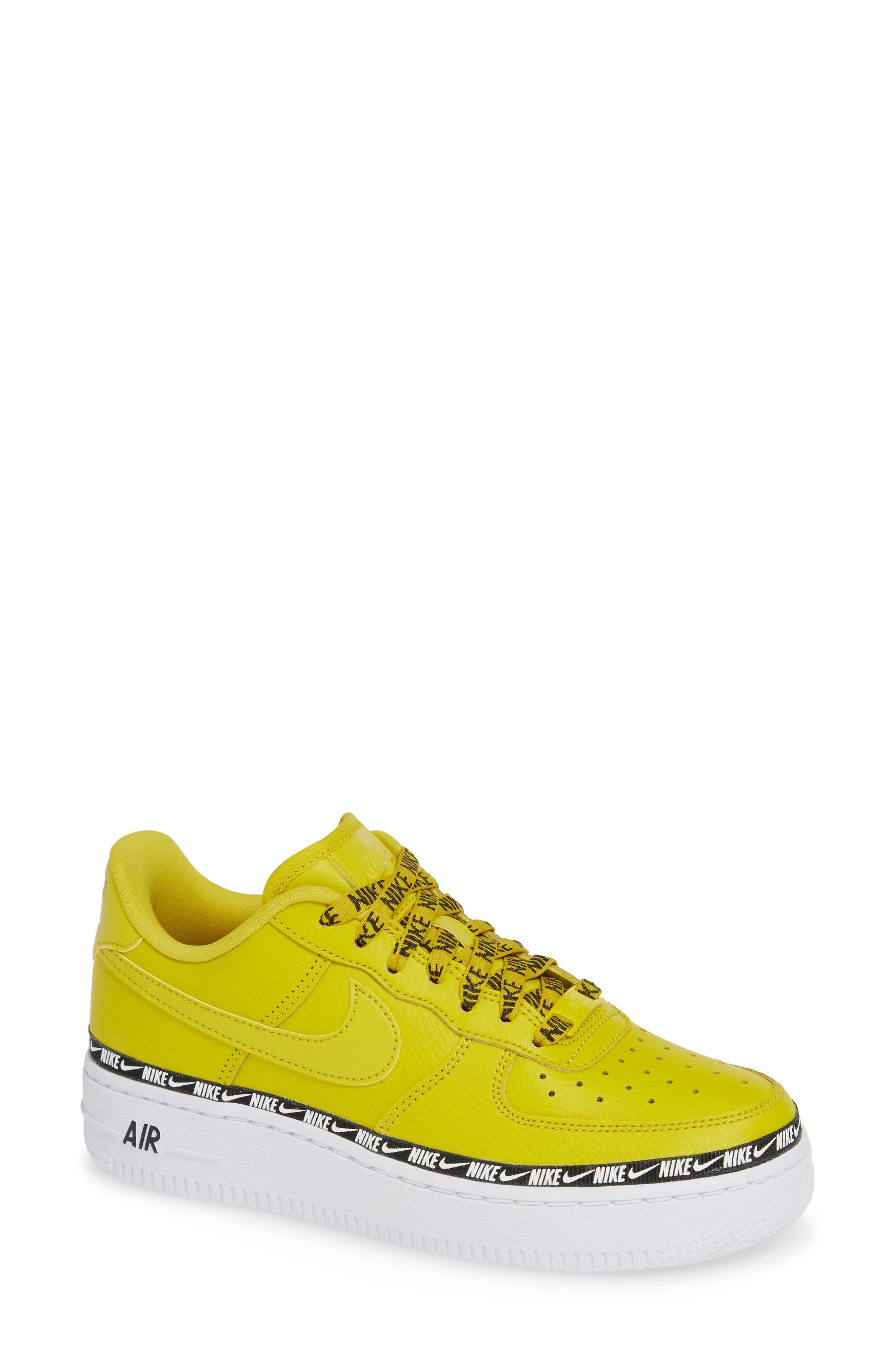 6a2af954a147c Lyst - Nike Yellow Air Force 1 Swoosh Tape Sneakers in Yellow