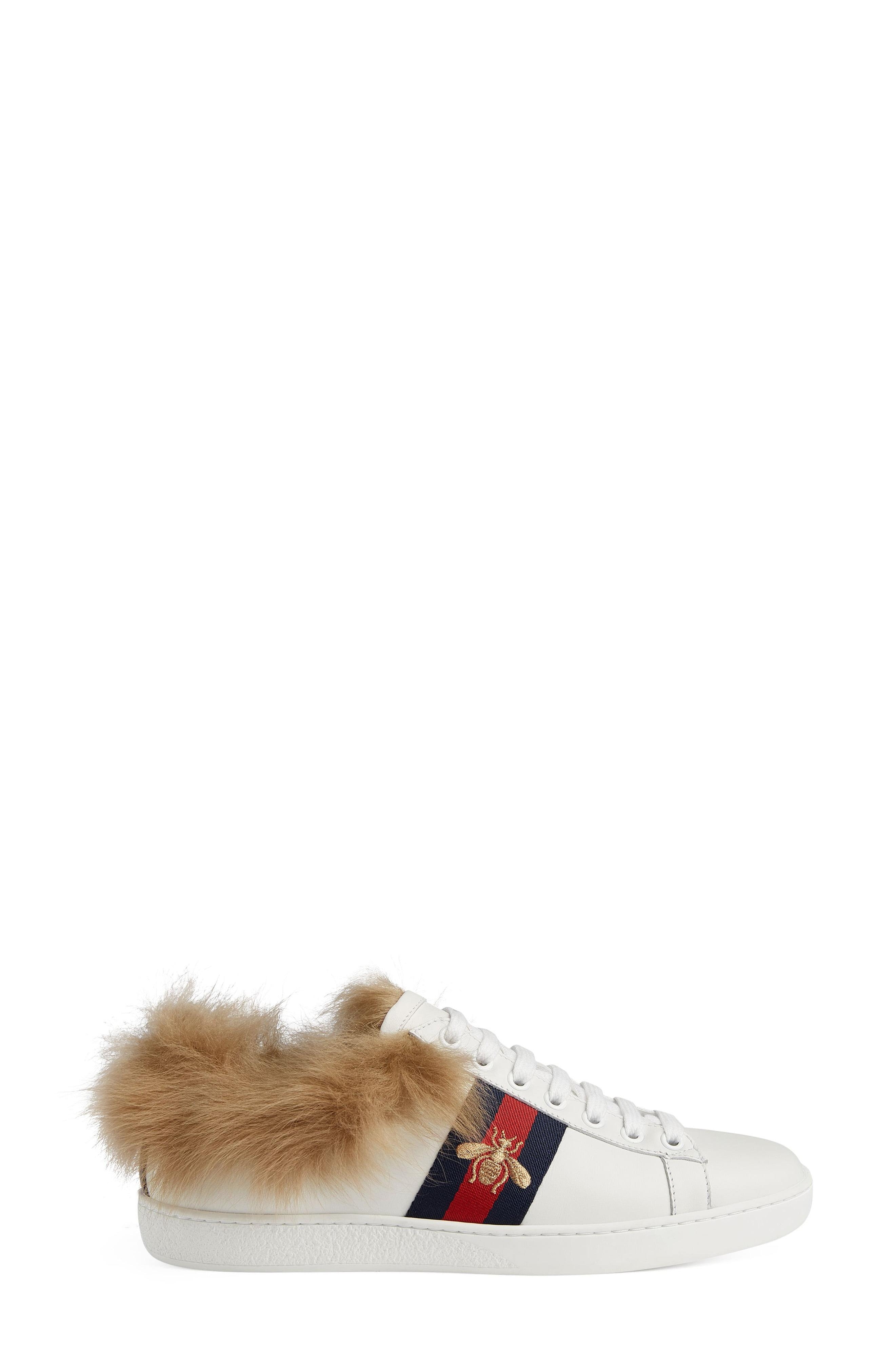3920d769146 Gucci - White New Ace Genuine Shearling Lining Sneaker - Lyst. View  fullscreen