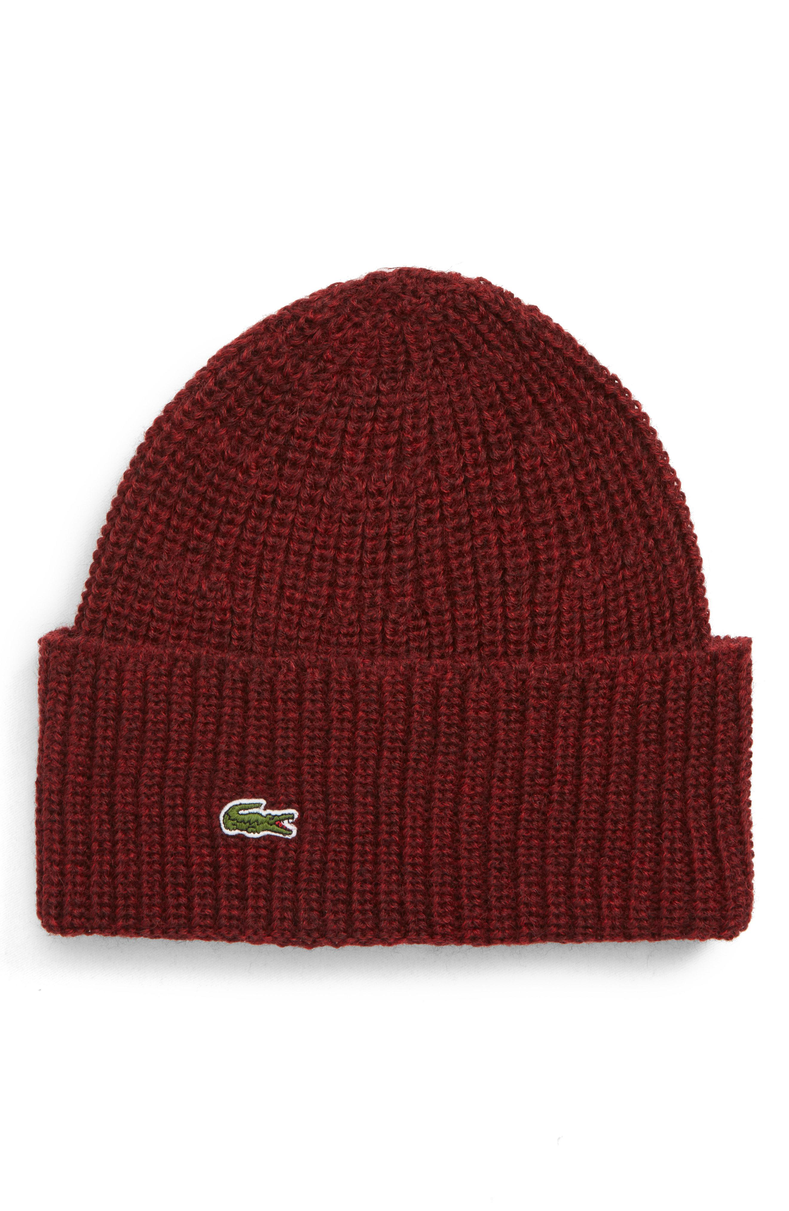 10f79c654407d Lyst - Lacoste Ribbed Wool Beanie in Gray for Men