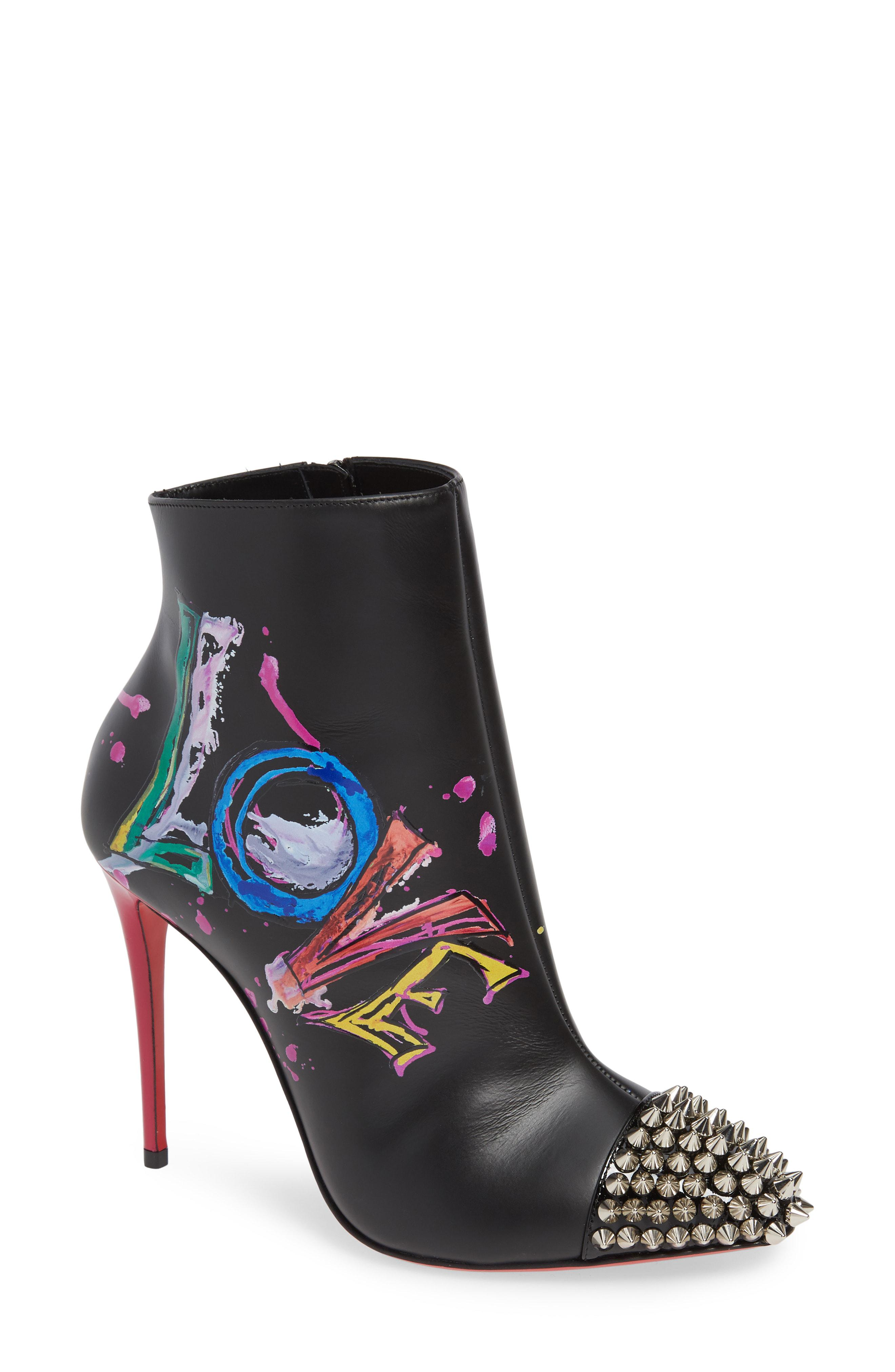 e7570ac64e3 Christian Louboutin Multicolor Love Is A Boot Spiked Bootie
