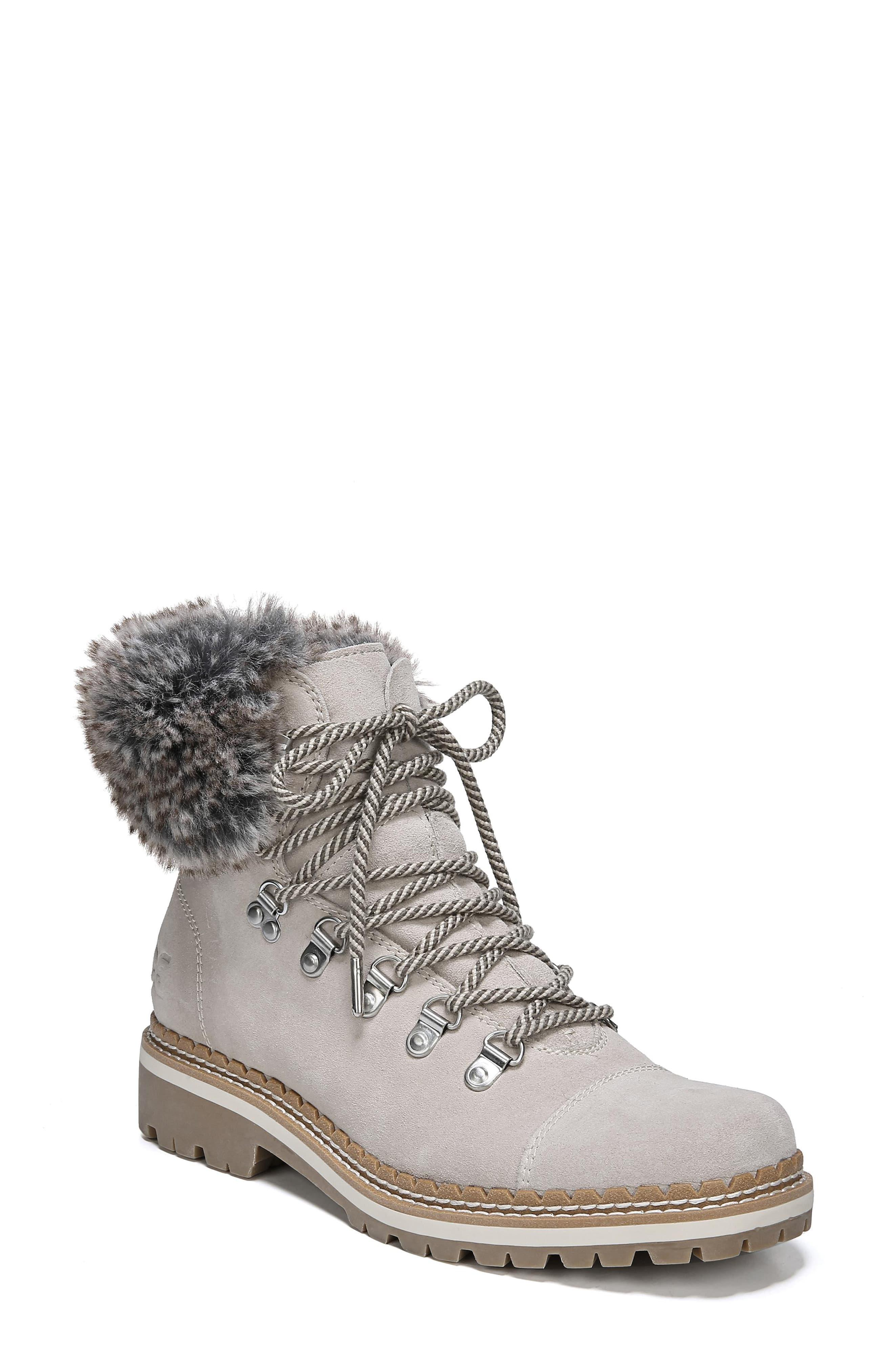 99eab5a9e5c Women's Gray Bowen Bistro Suede And Faux Fur Hiking Boots