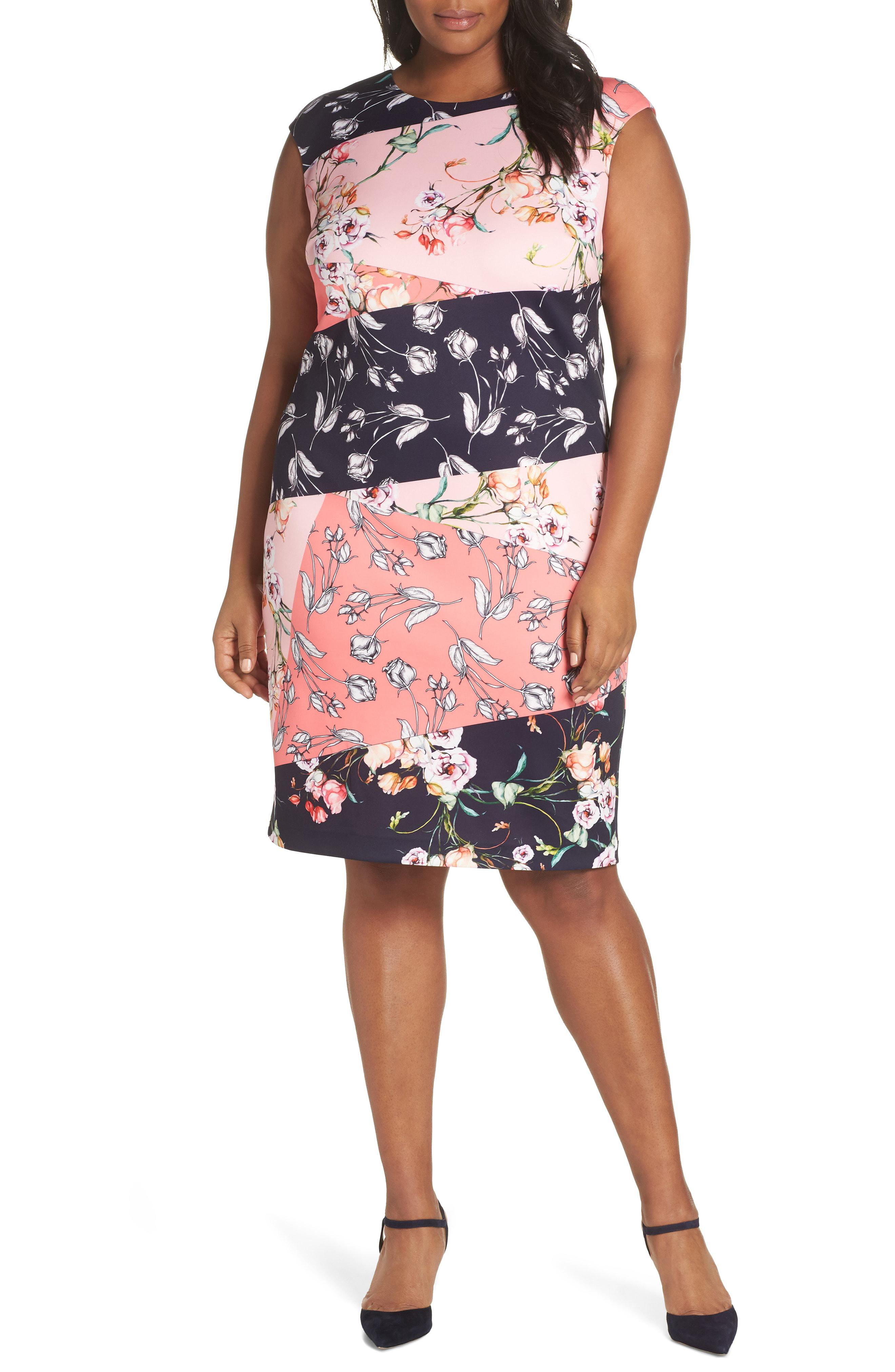 011424fb418 Lyst - Vince Camuto Floral Print Scuba Crepe Sheath Dress in Pink