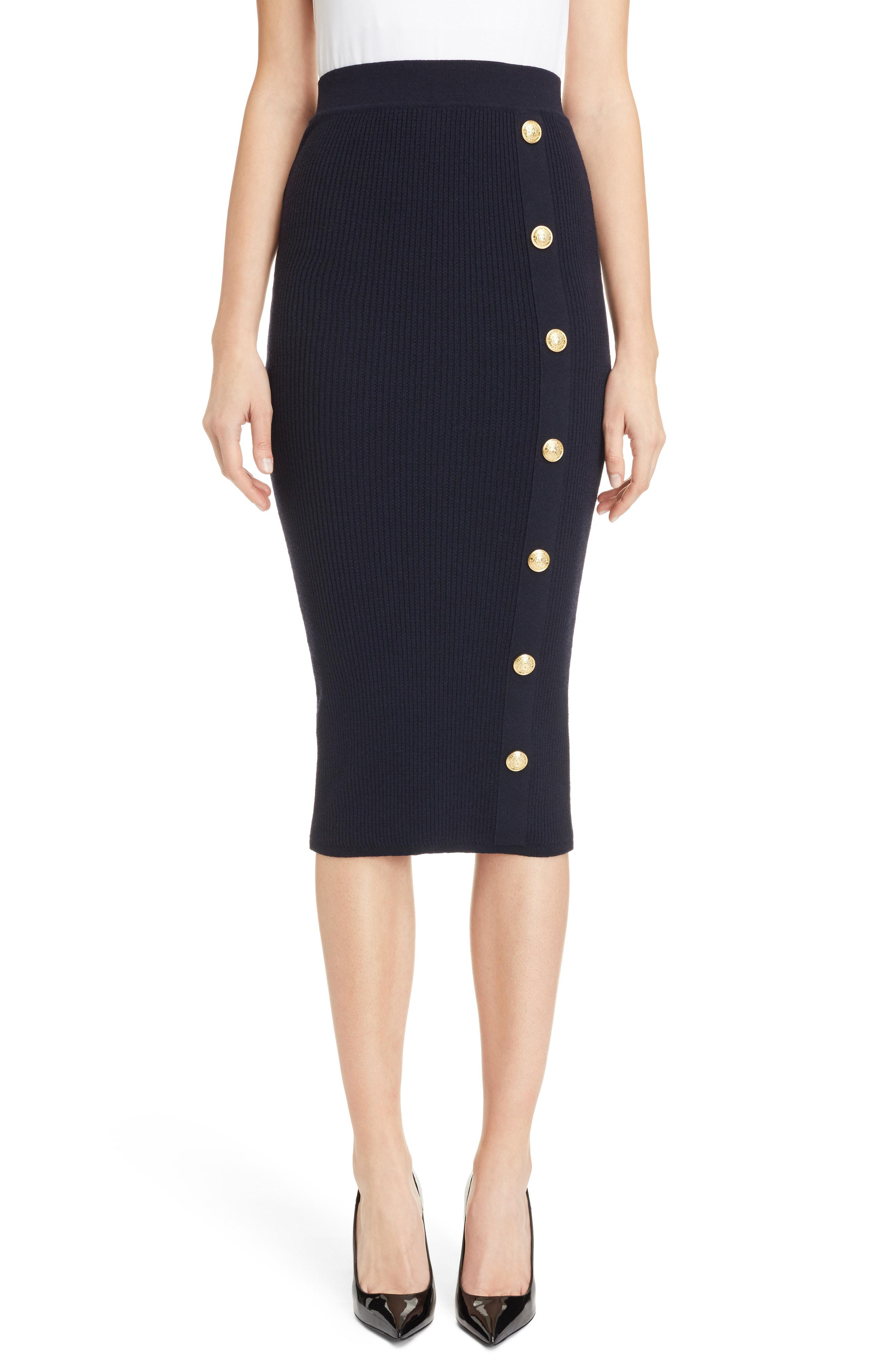6497ab77f Lyst - Balmain Fitted Midi Pencil Skirt in Blue