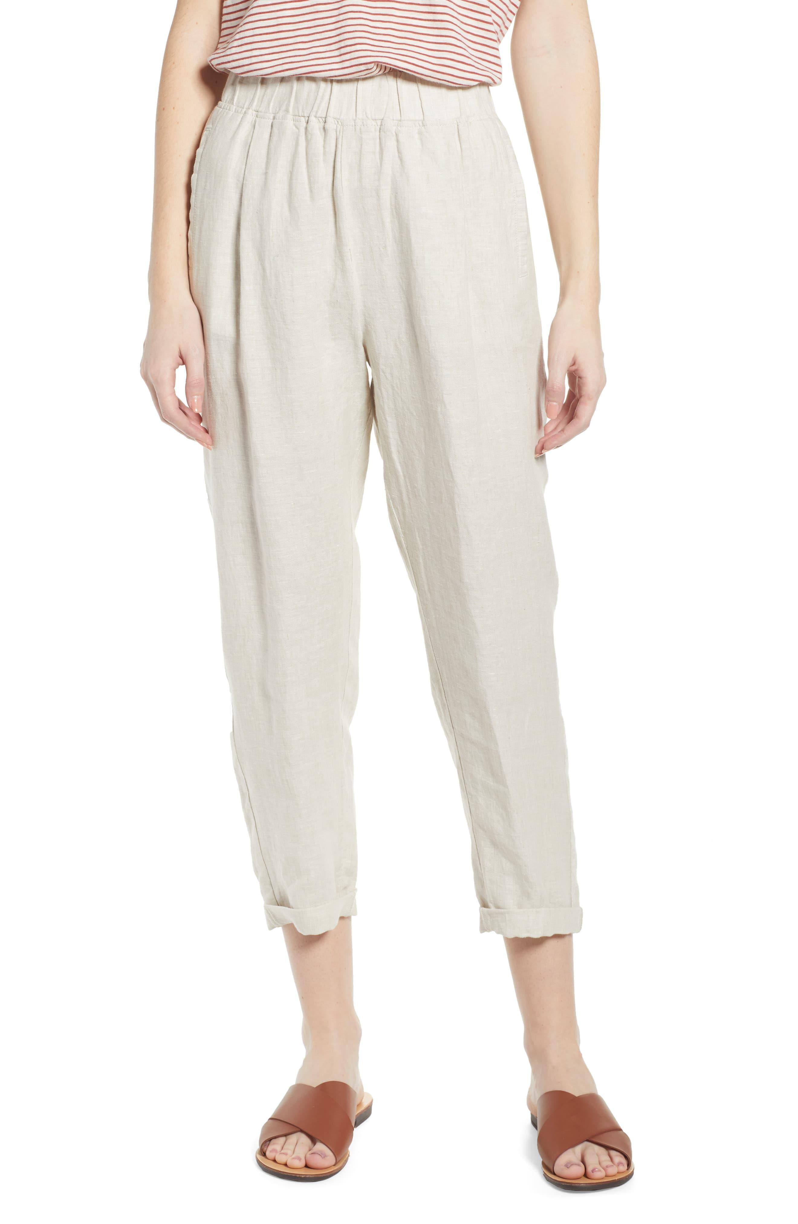 Caslon Caslon Linen Crop Pants Lyst