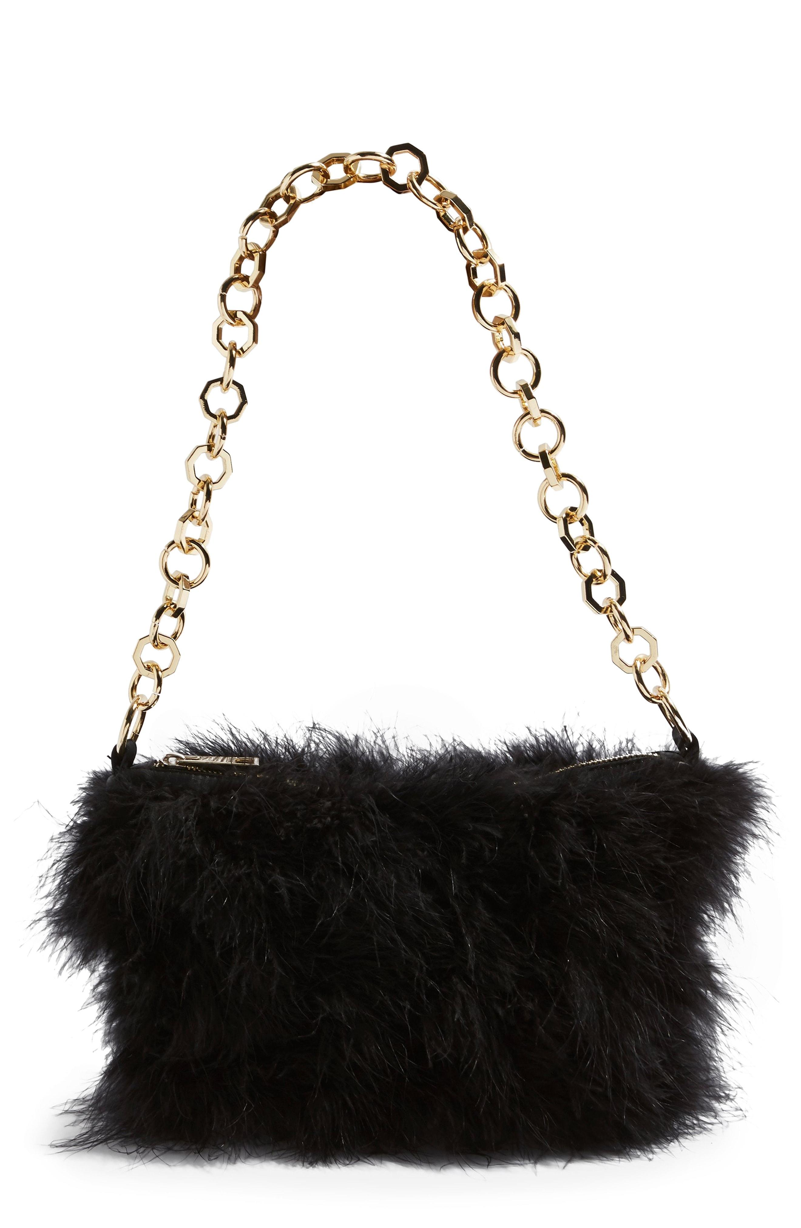 Lyst - TOPSHOP Flo Marabou Feather Shoulder Bag - in Black 9c0077fce45ca