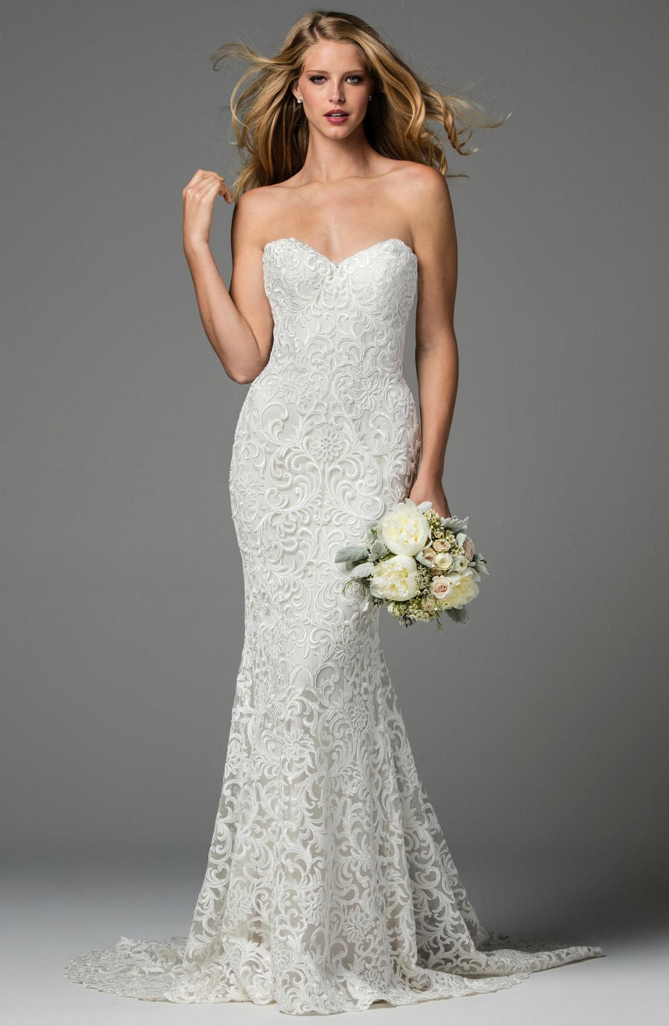160654eea2e1 Lyst - Watters Pauline Strapless Lace Mermaid Gown in White