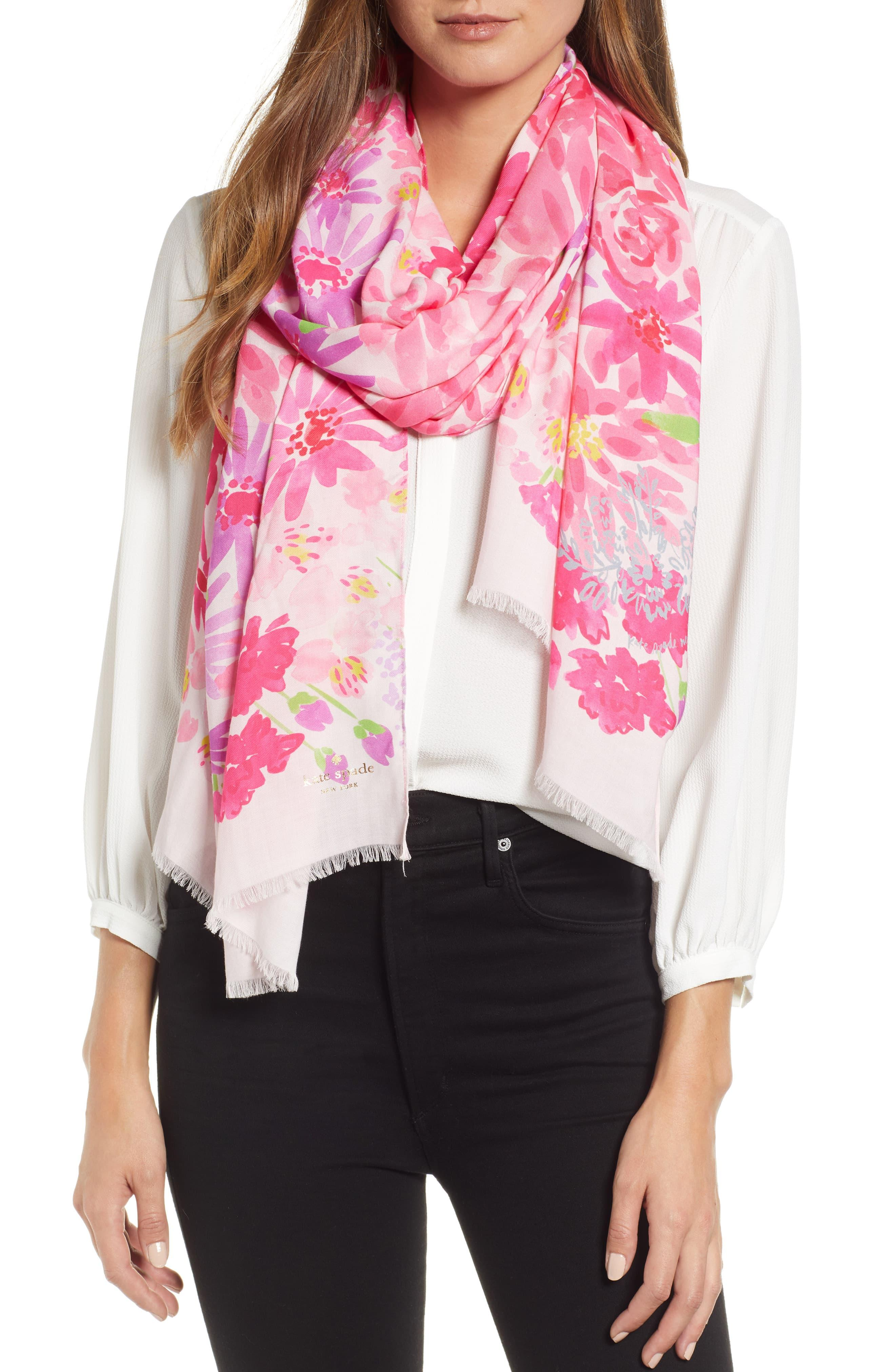 3f574aefe4 Kate Spade Pink Deli Flowers Scarf