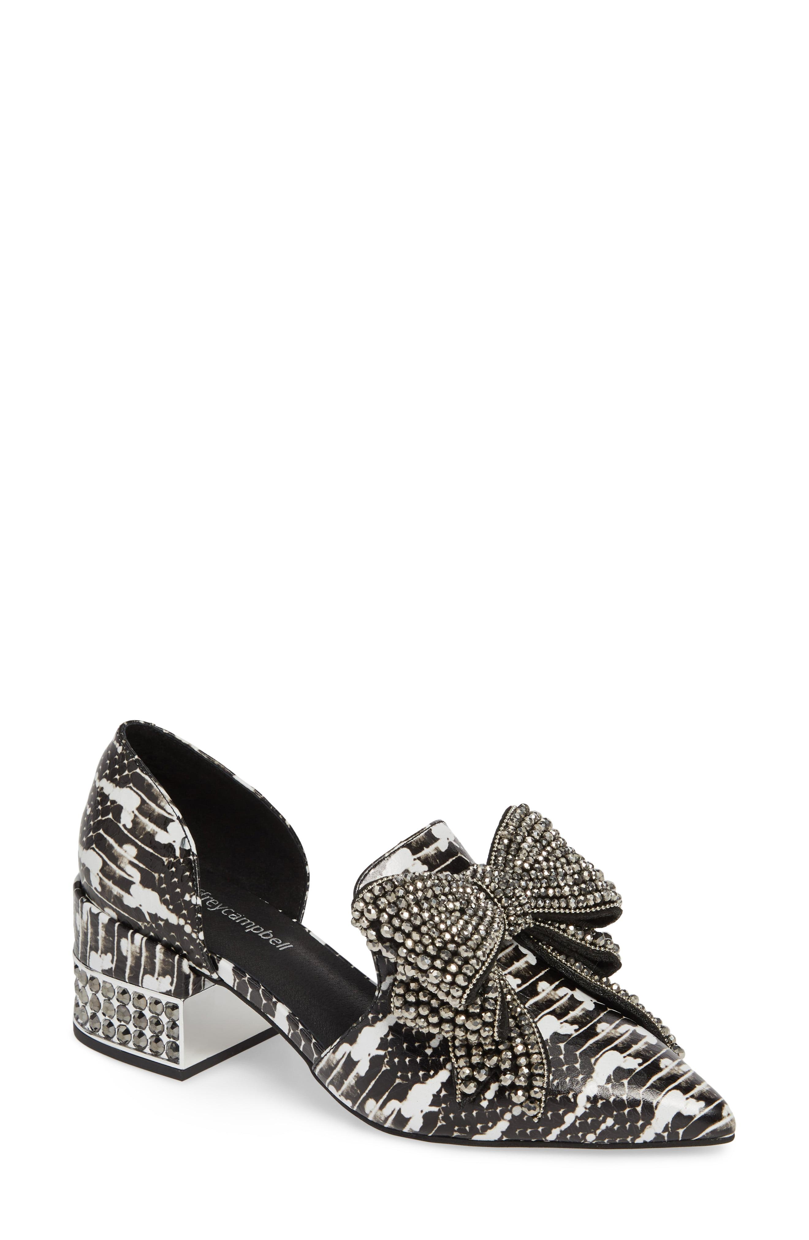 29404d79bf8 Lyst - Jeffrey Campbell Valenti Embellished Bow Loafer in Black ...