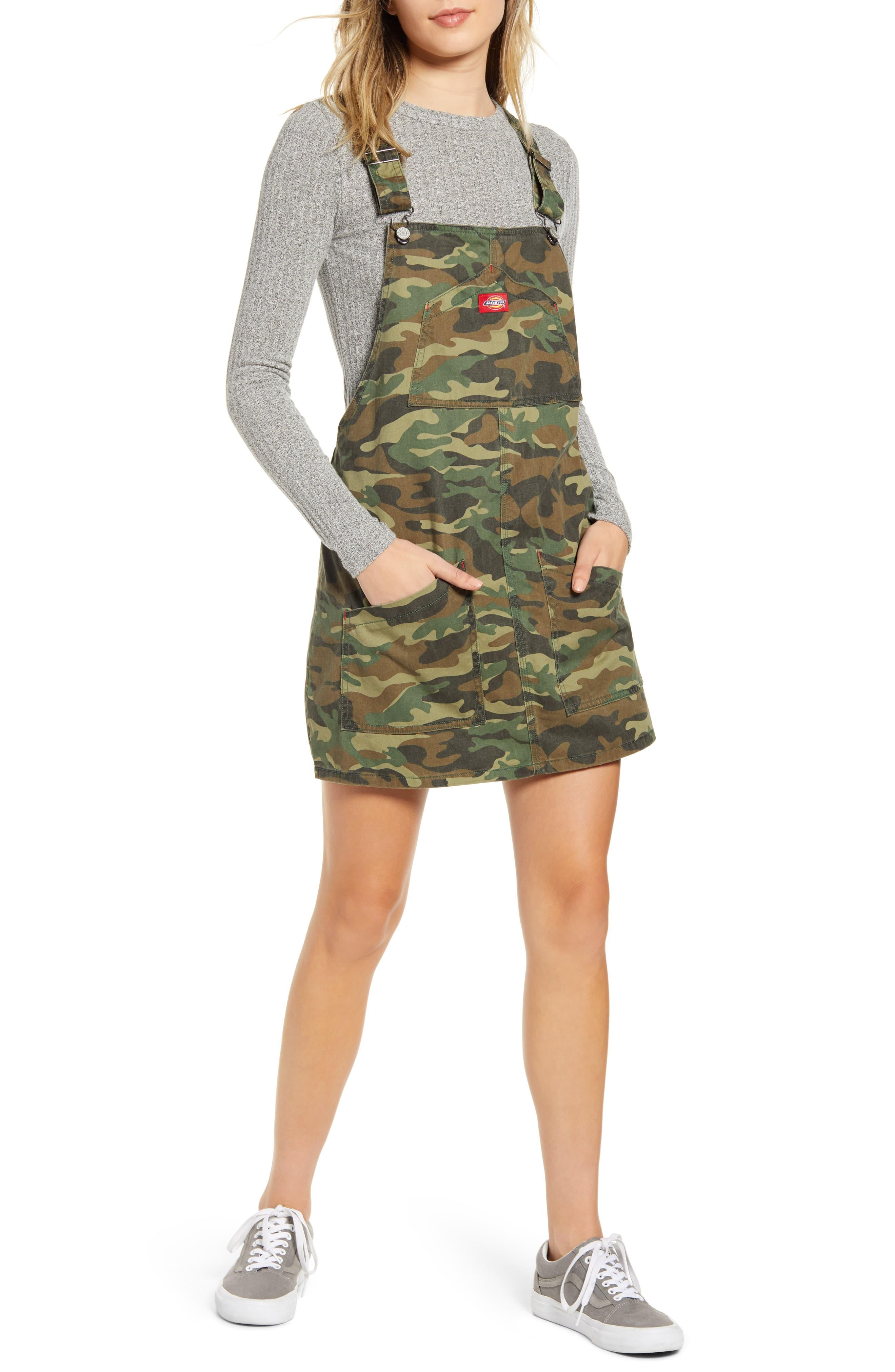 Dickies Camouflage Denim Overall Dress In Olive Camo Green Lyst