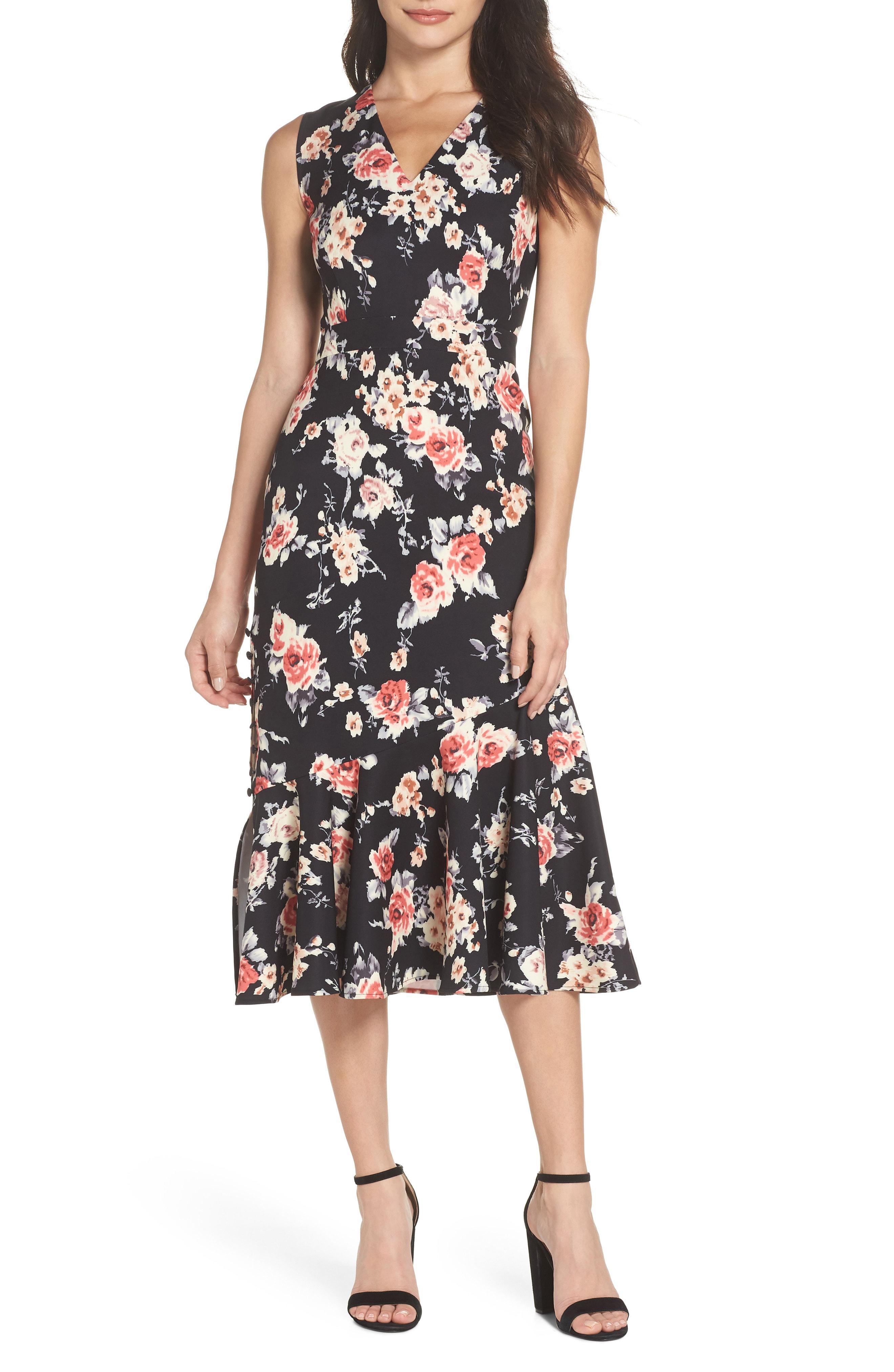 5421d8d03121 Chelsea28 Floral Back Cutout Midi Dress - Lyst