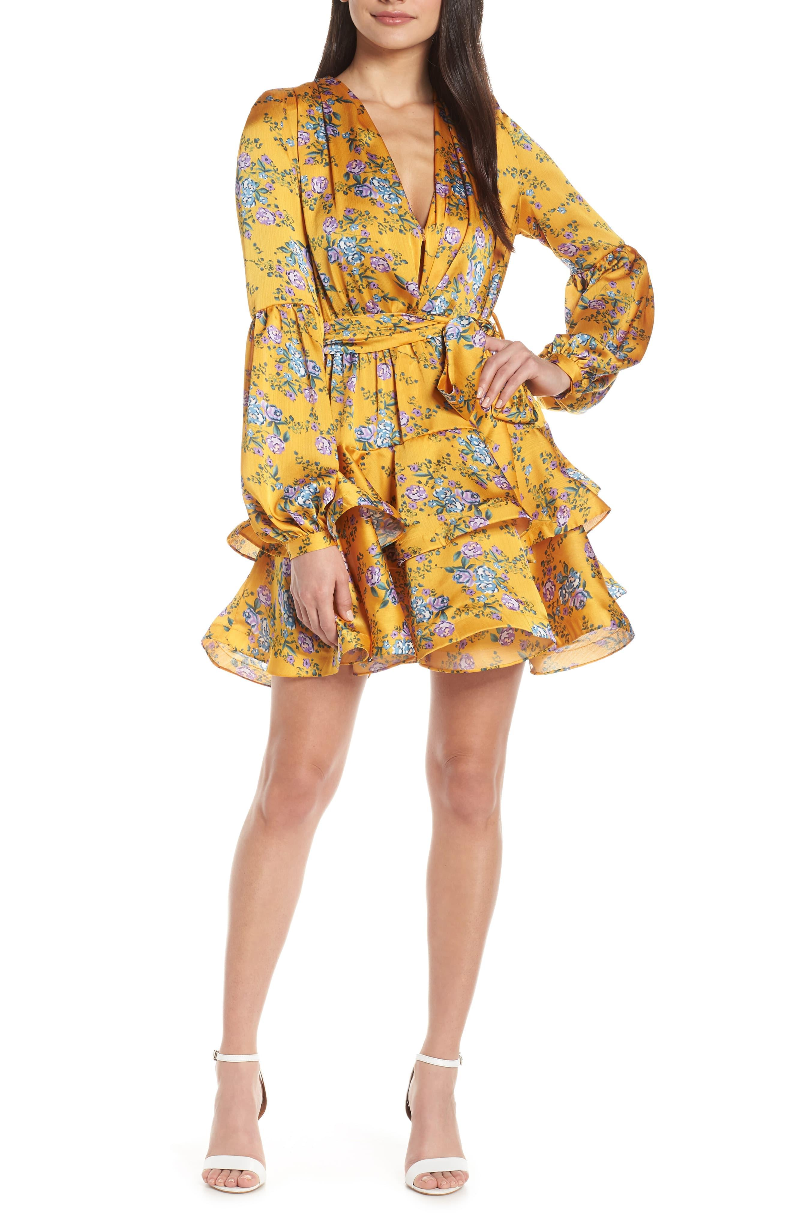 8a208cb3ea9280 Bronx and Banco Hanna Tiered Ruffle Party Dress in Yellow - Lyst