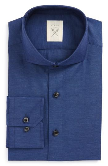 Strong suit extra trim fit solid dress shirt in blue for for Extra slim tuxedo shirt