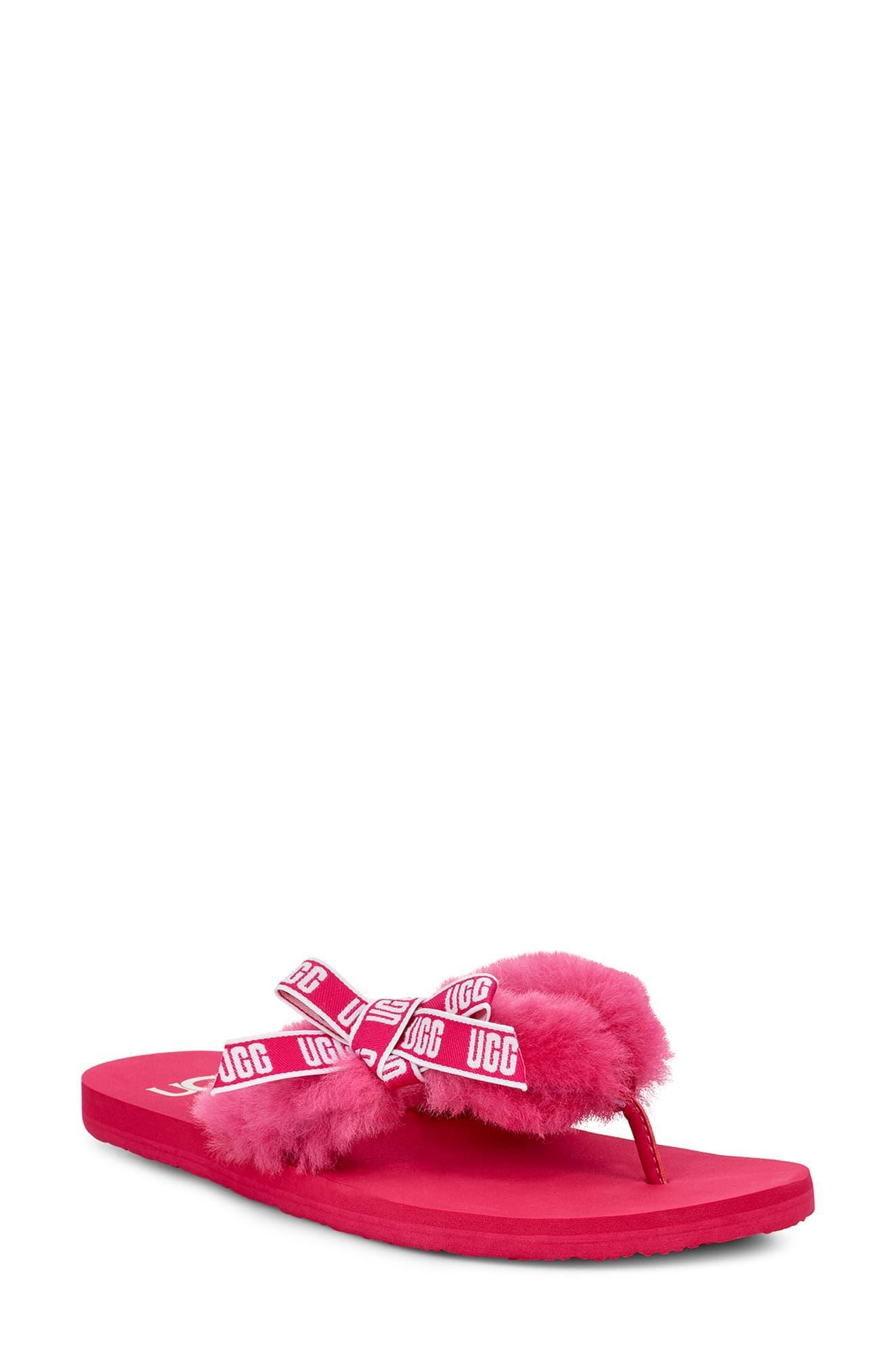 425cc172f9e Ugg Pink Ugg Sunset Graphic Genuine Shearling Flip Flop
