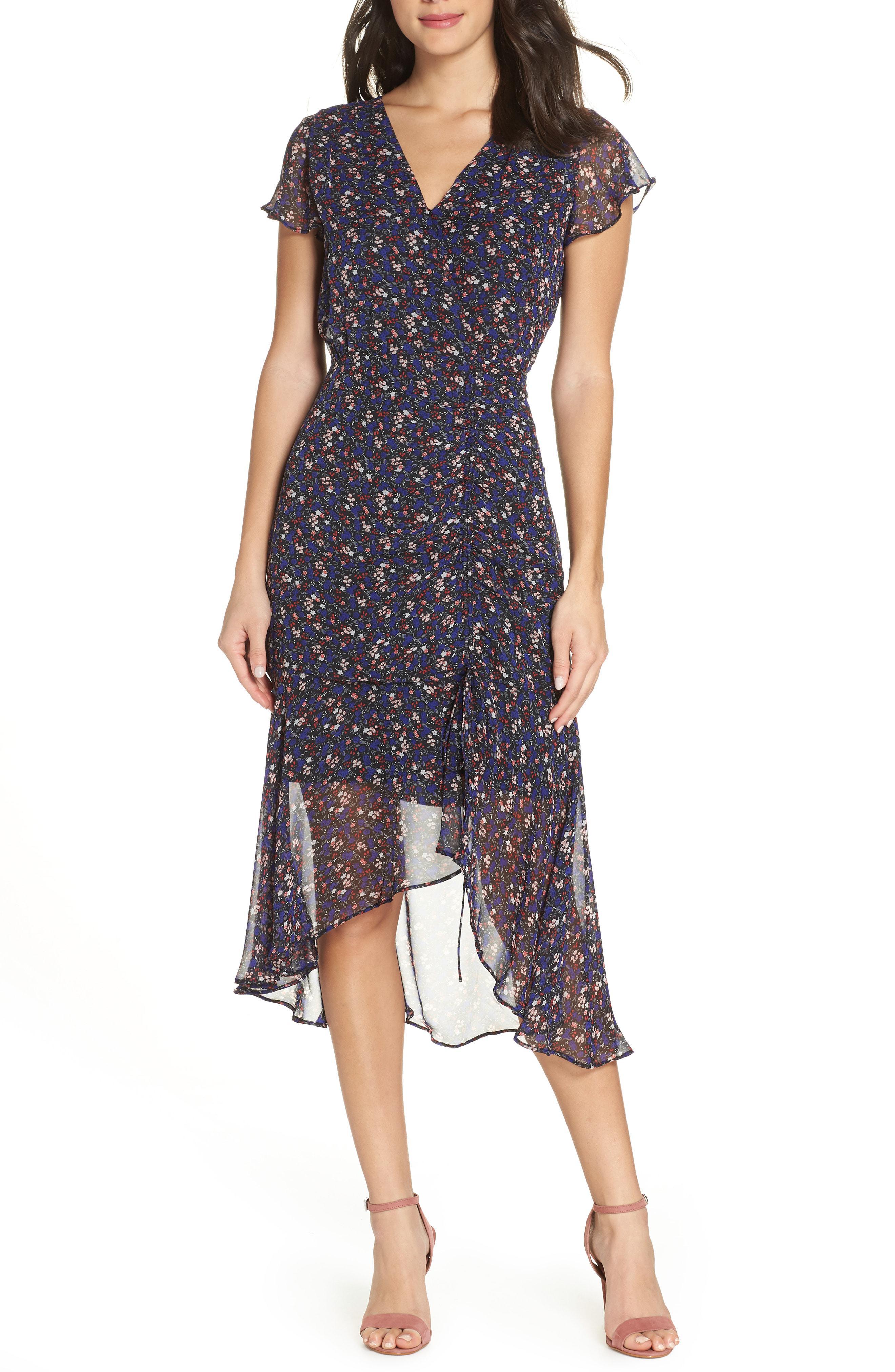 9ed7a338c Lyst - Sam Edelman Floral Flutter Dress in Purple