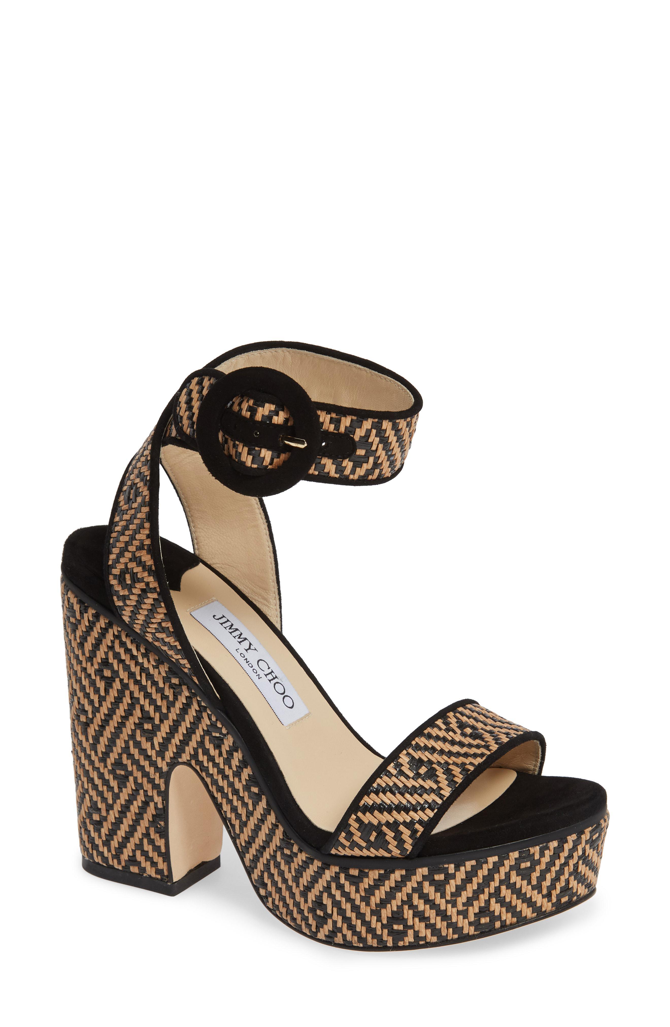 1d3af5b1d8c692 Jimmy Choo - Black Aimee Platform Ankle Strap Sandal - Lyst. View fullscreen