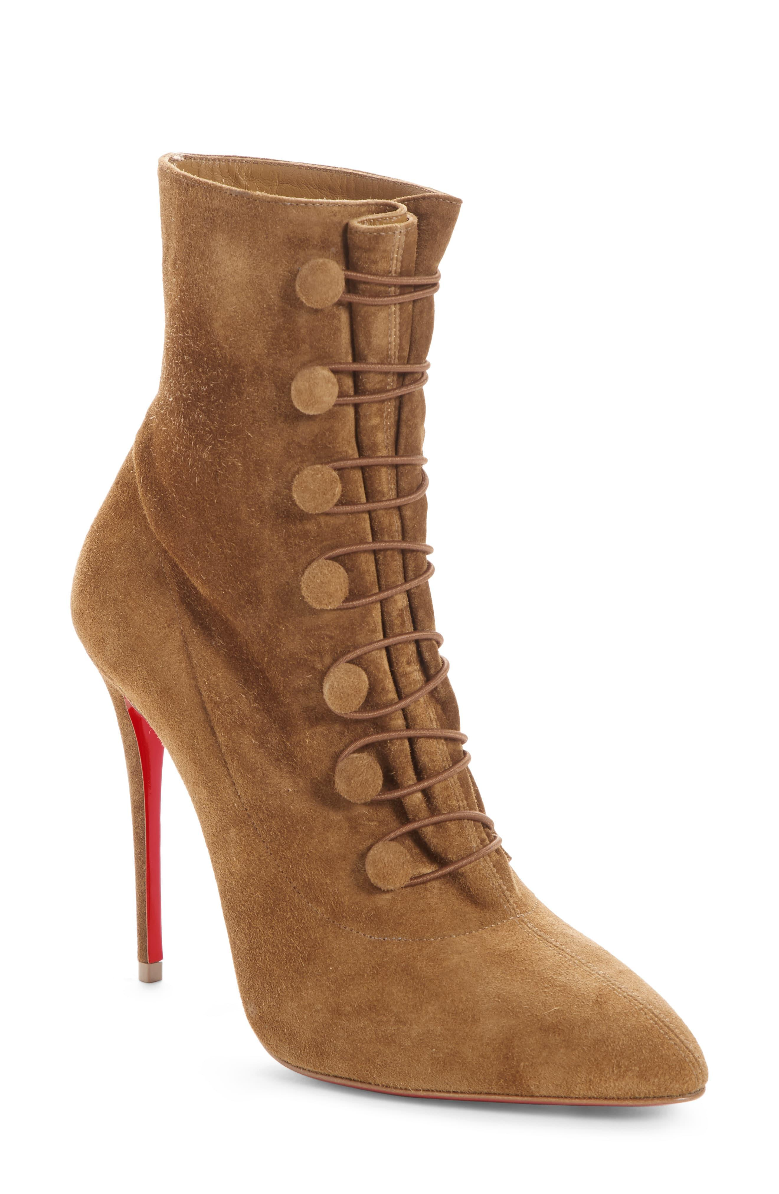 d5bb6640baa Christian Louboutin Brown French Tutu Button-loop Suede Red Sole Booties