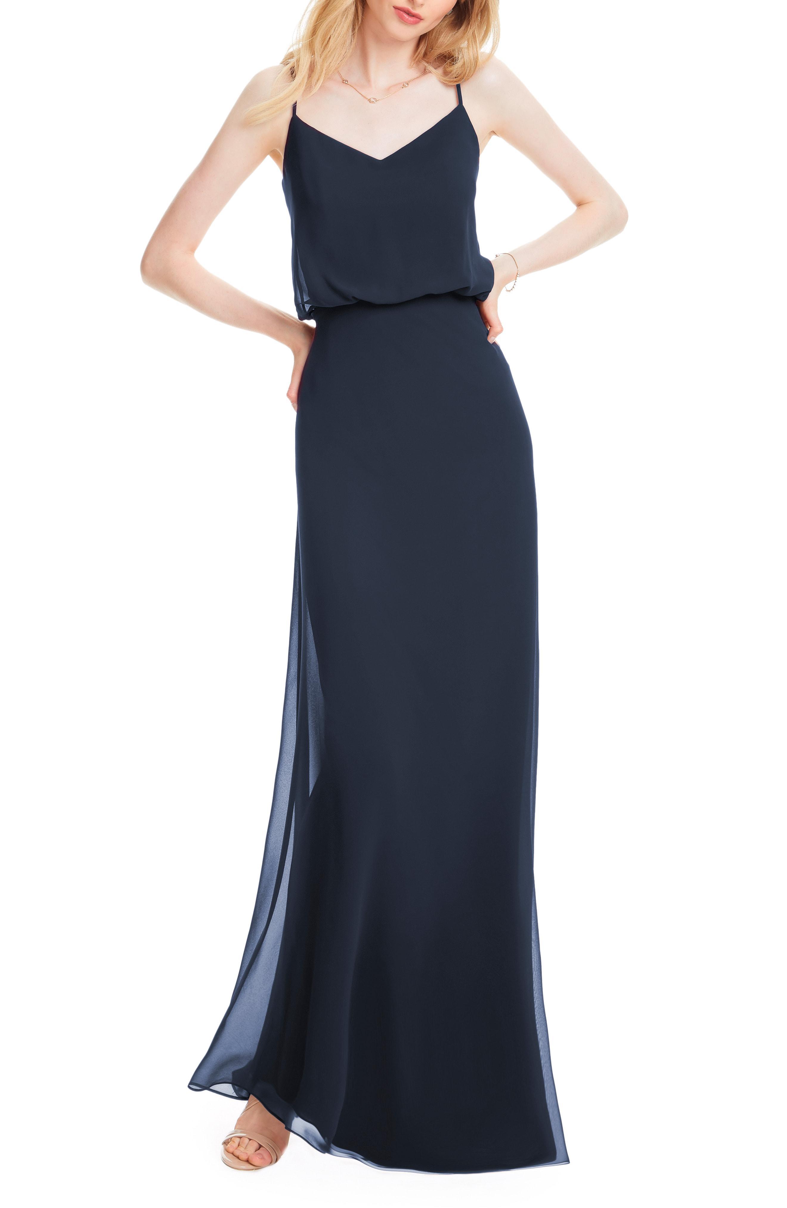 c5933260f060 Bill Levkoff. Women's Blue # Spaghetti Strap Chiffon Gown
