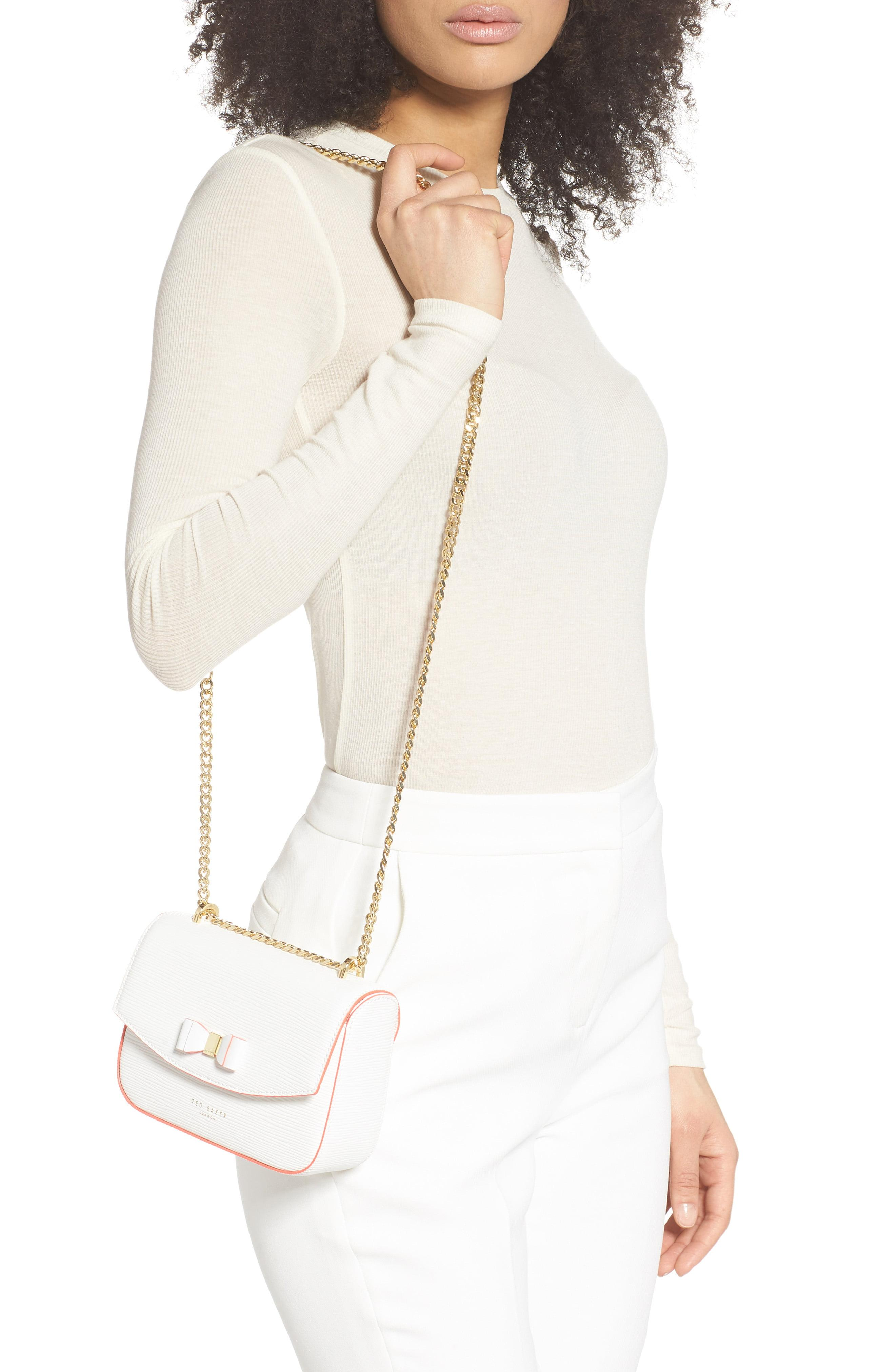 Ted Baker Daissy Bow Mini Leather Crossbody Bag in Ivory (White ...