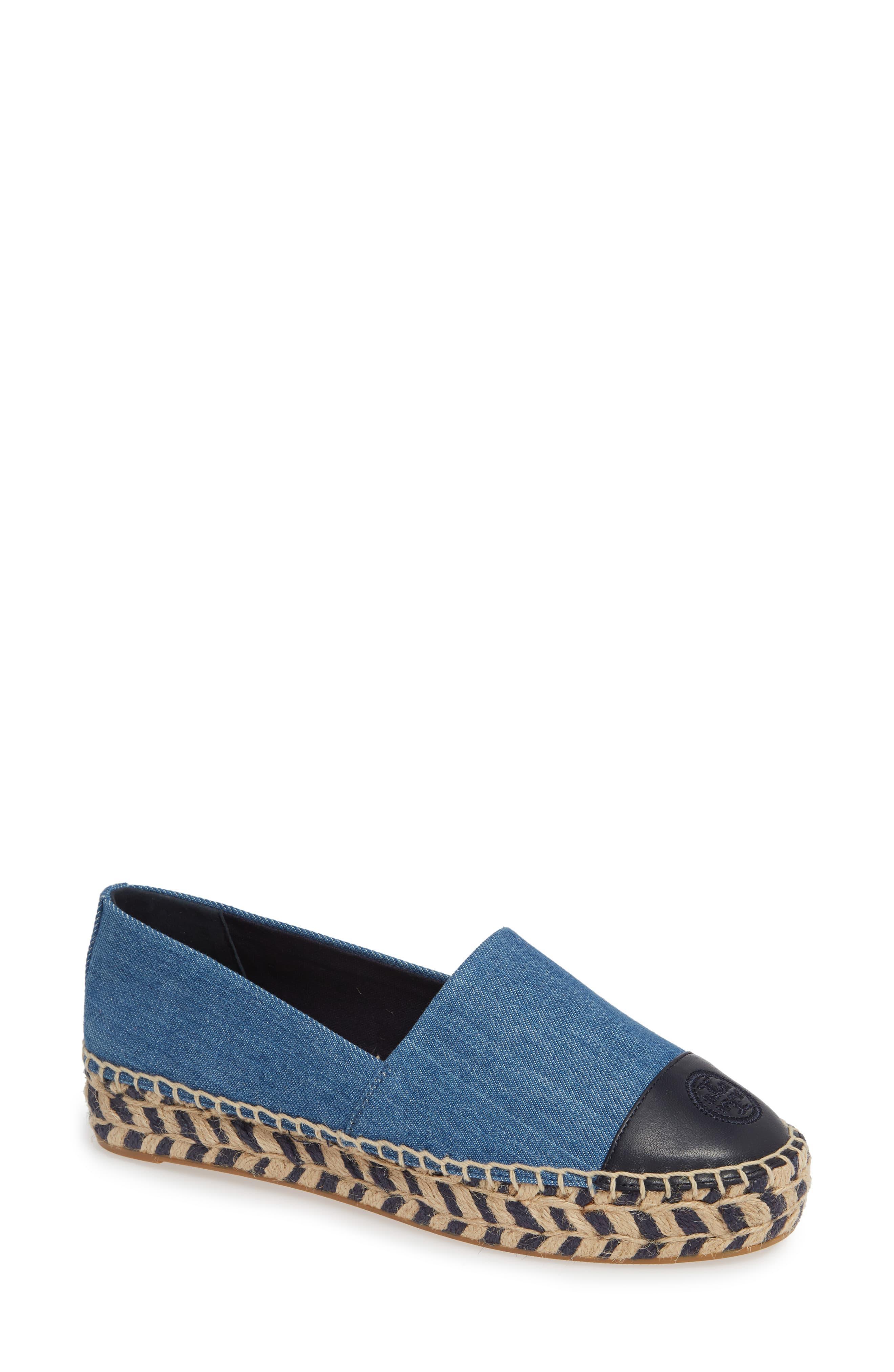 USA STOCK New Women canvas Flat Espadrille Denim Floral Blue