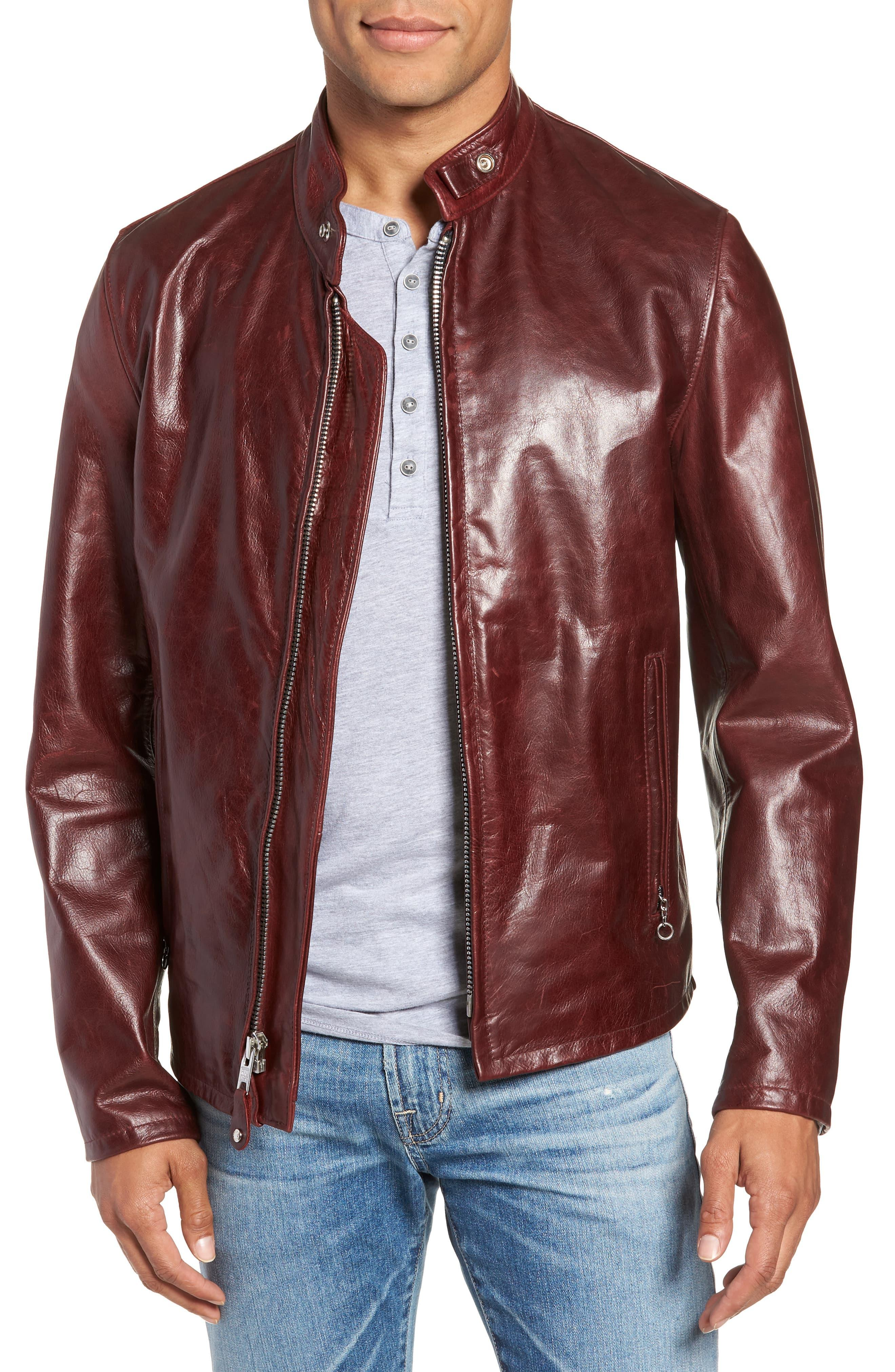 71f163439 Men's Red Café Racer Waxy Cowhide Leather Jacket