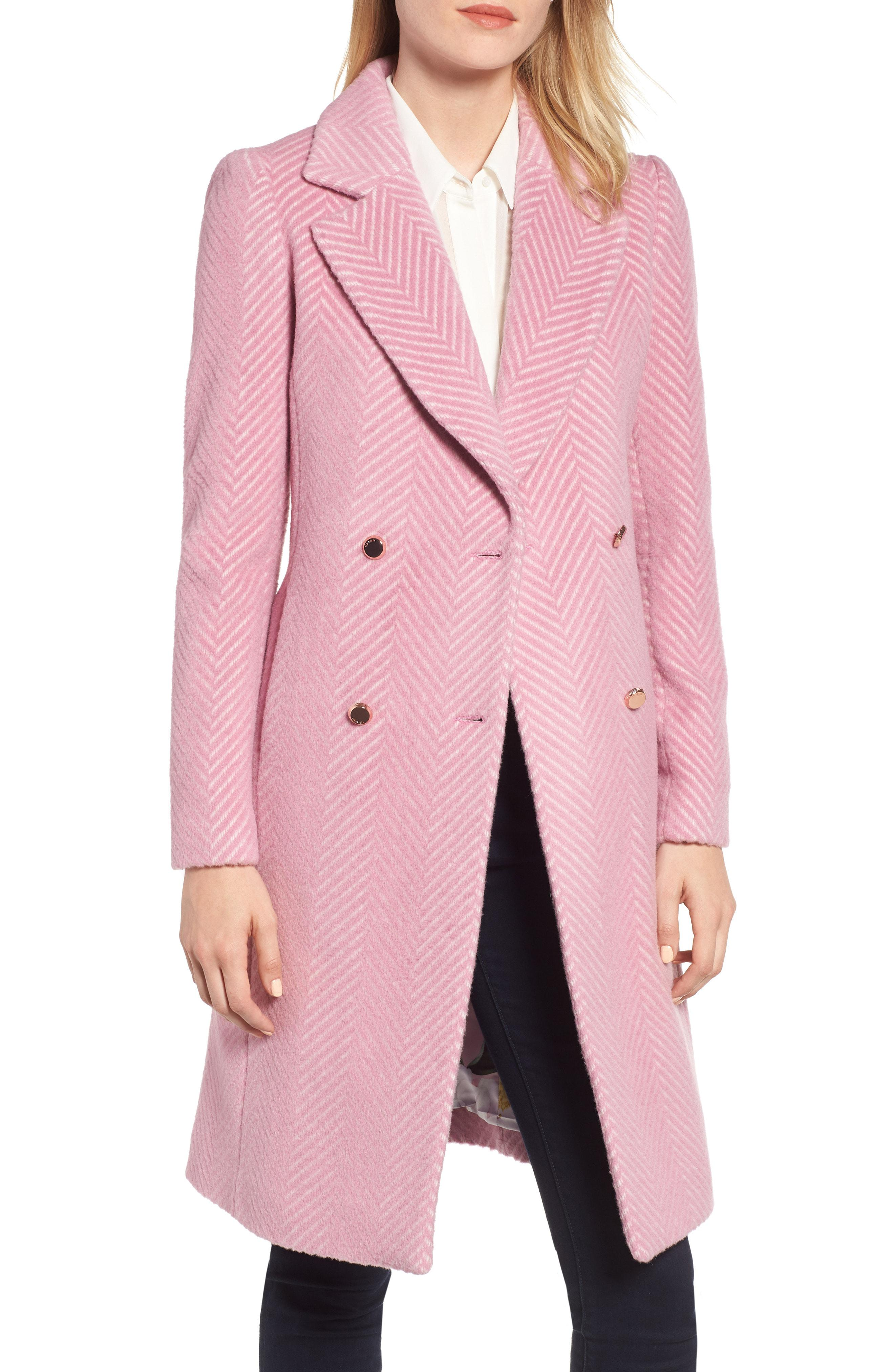 980d81f70 Lyst - Ted Baker Chevron Coat in Pink