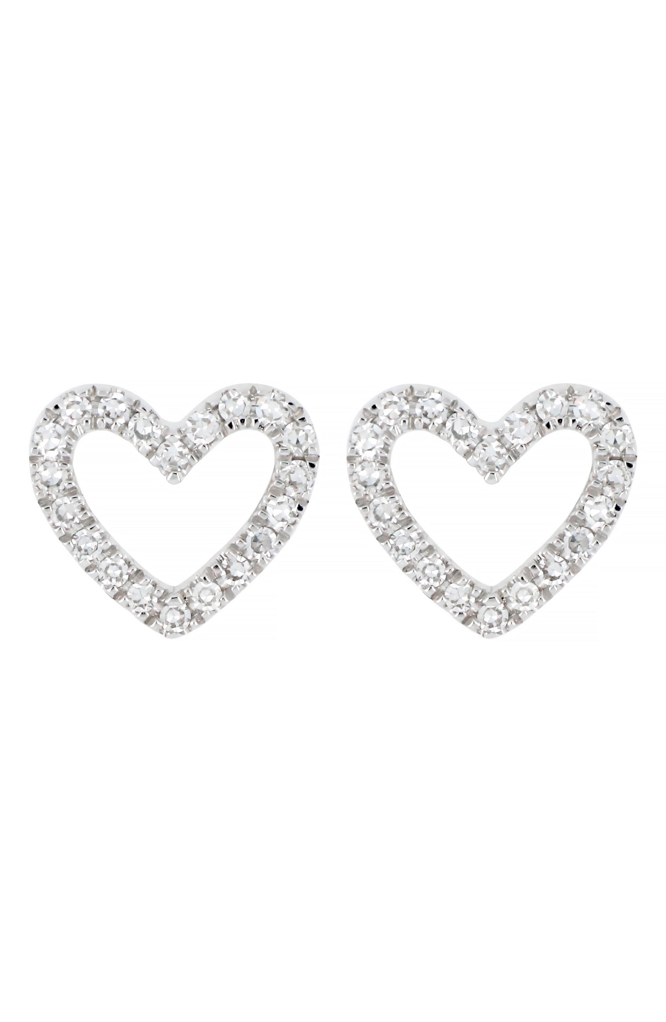 72e28f393 CARRIERE JEWELRY. Women's Metallic Carriere Open Diamond Heart Stud Earrings  ...