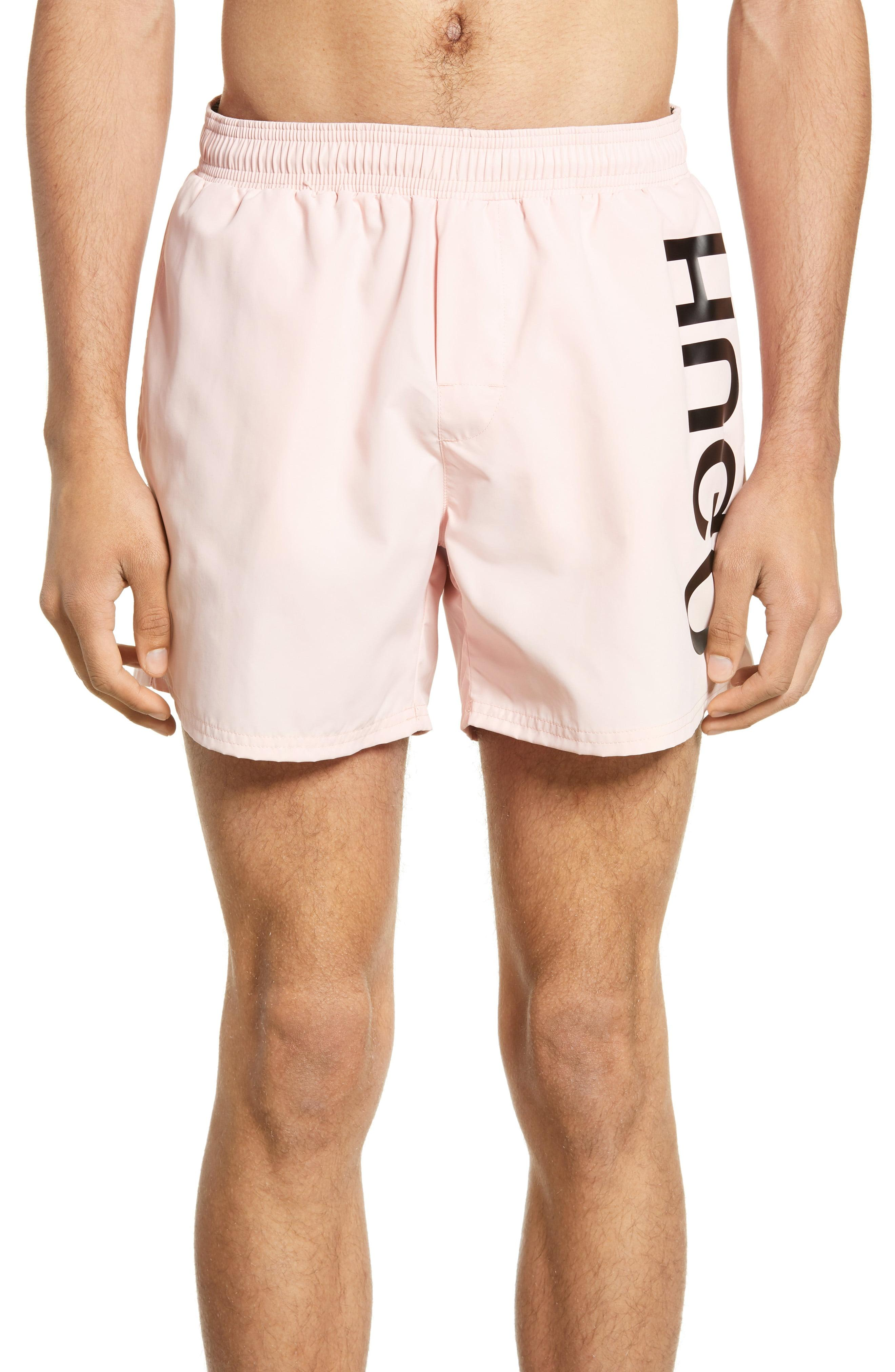 HUGO Saba Side Logo Men/'s Swim Shorts Soft Pink