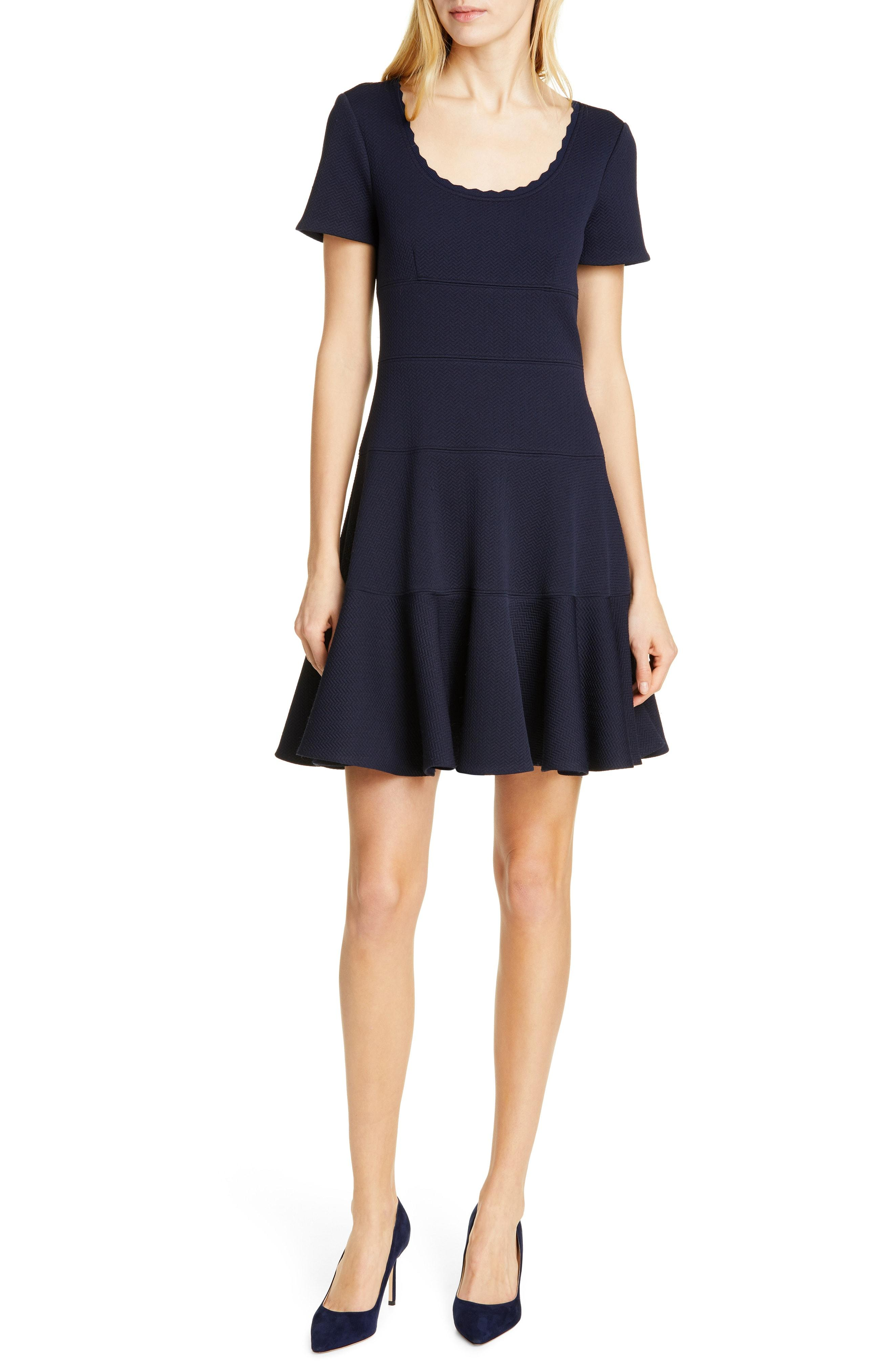 9c4546f9b3 Lyst - Rebecca Taylor Textured Scallop Detail Fit   Flare Dress in Blue