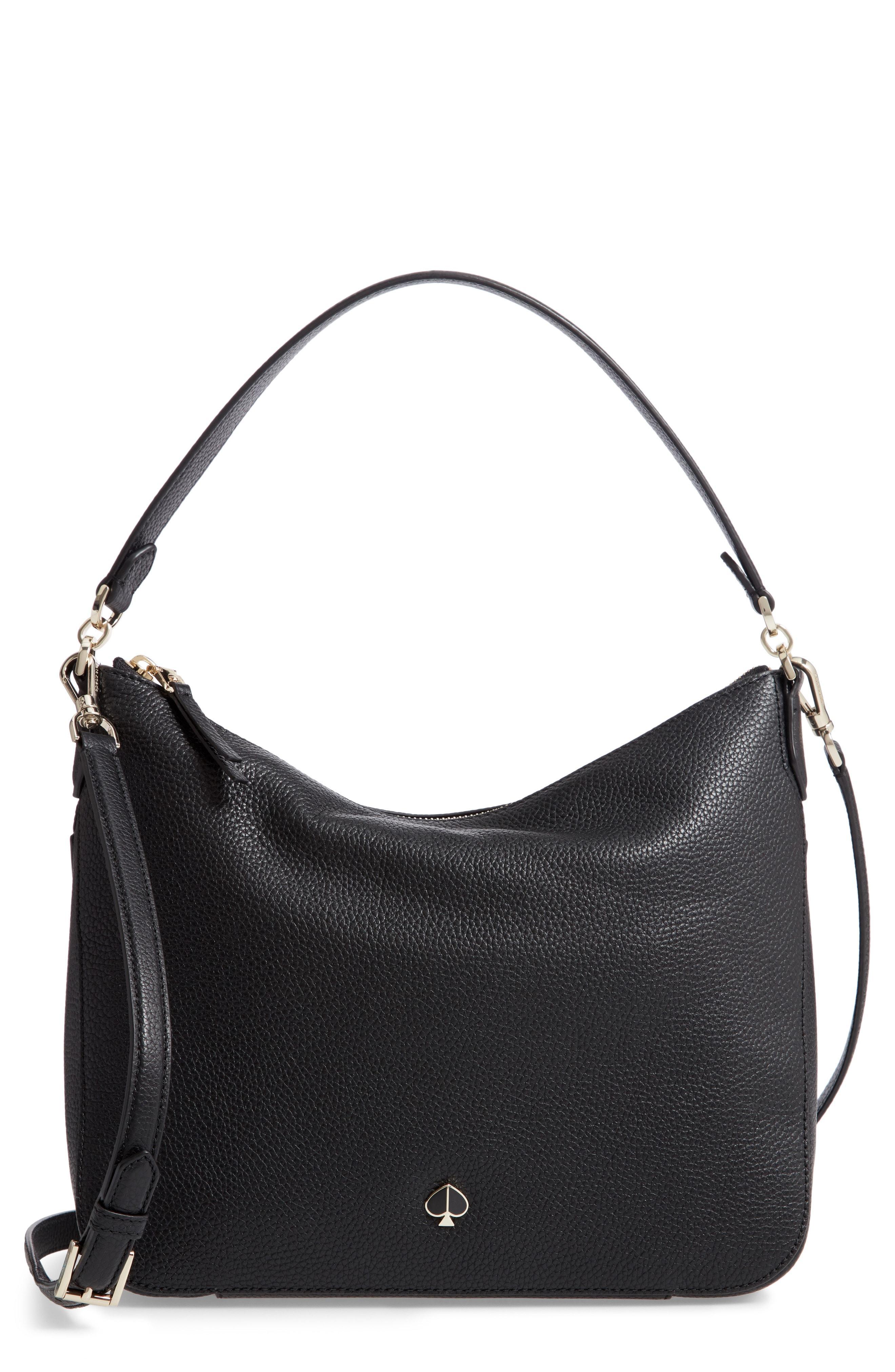fefc8d64a0b9 Lyst - Kate Spade Medium Polly Leather Shoulder Bag in Black