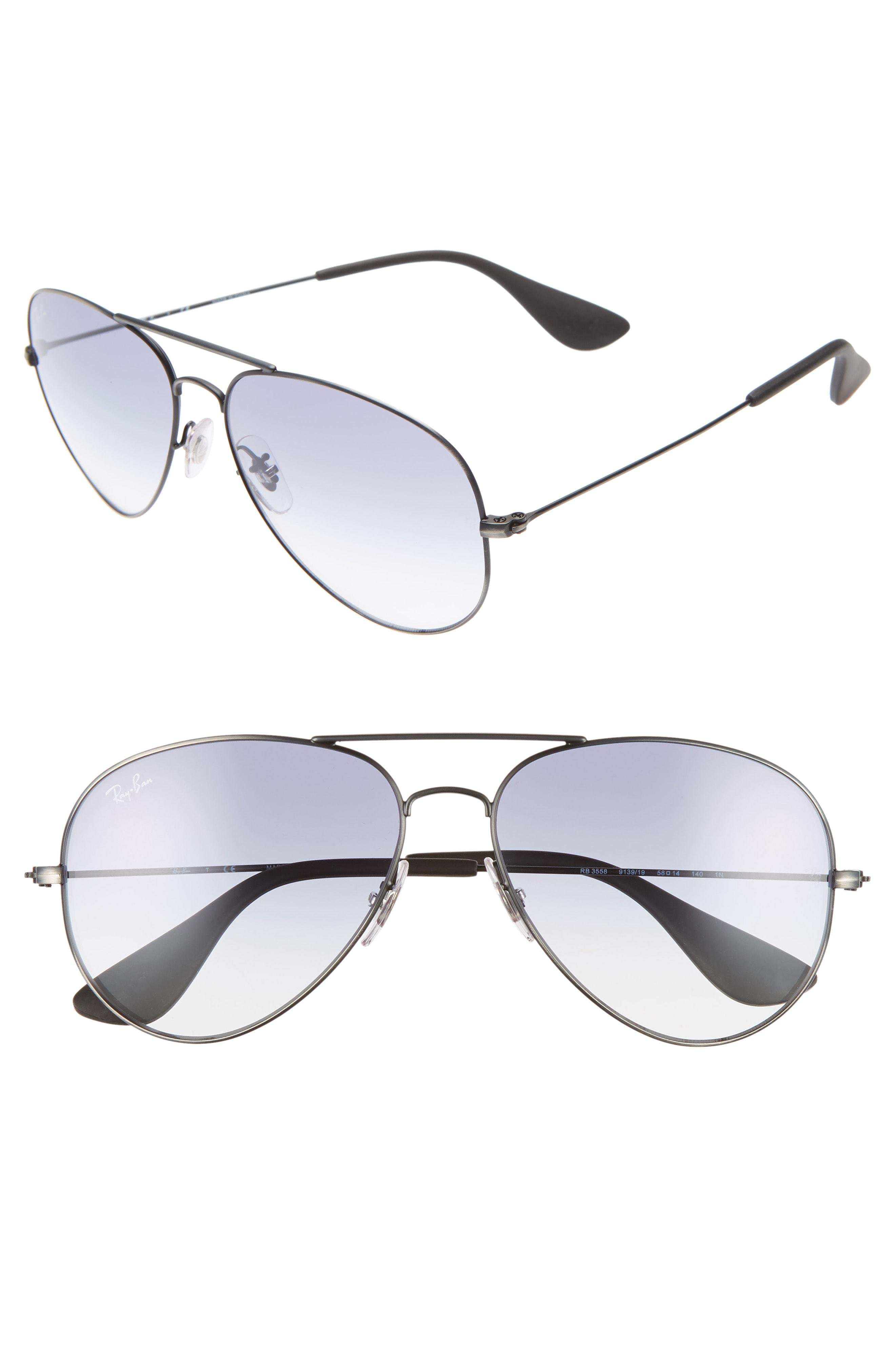 163e0afc64 Lyst - Ray-Ban 58mm Gradient Aviator Sunglasses - in Metallic
