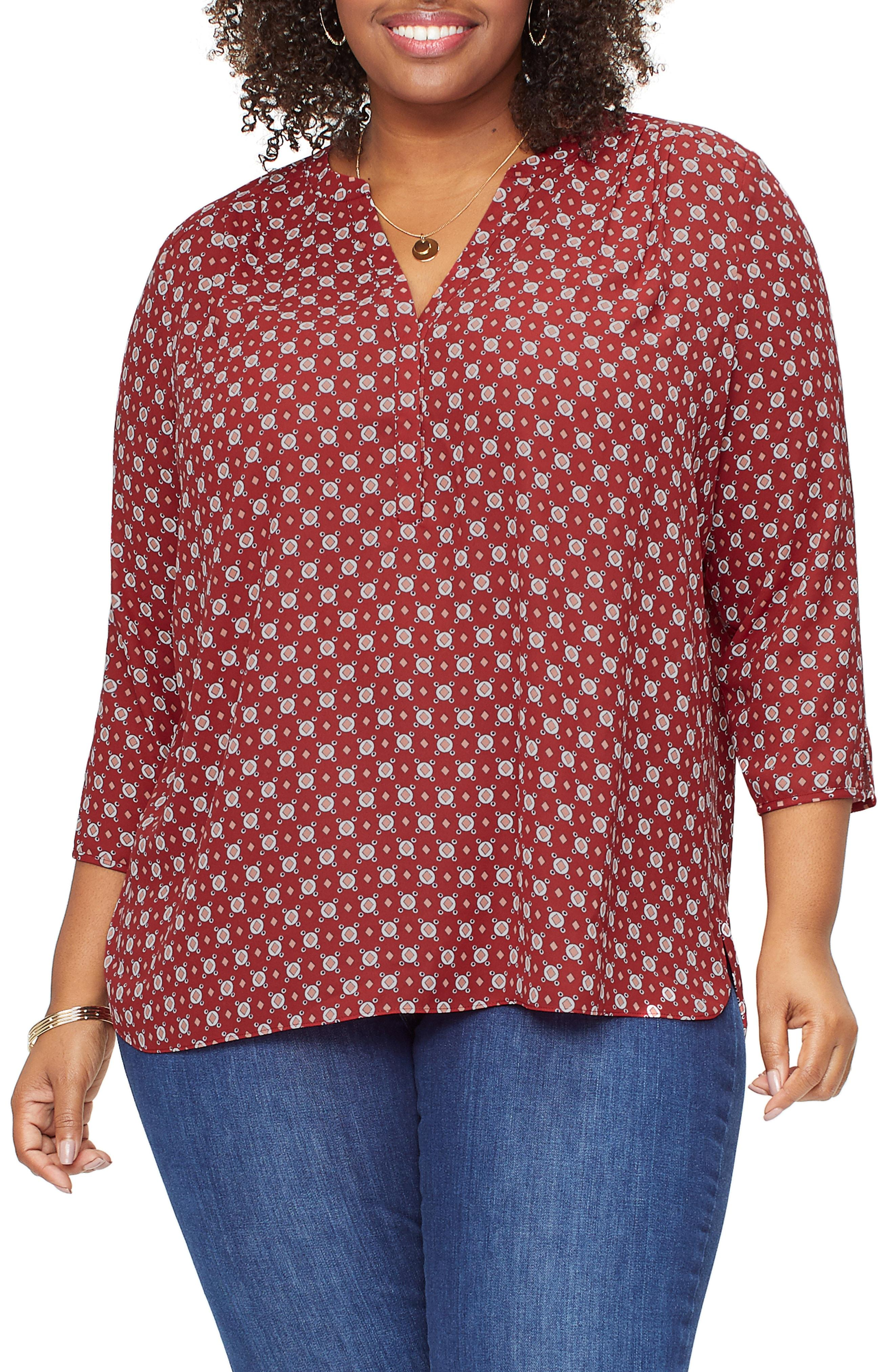 17b3b65b44137b Lyst - NYDJ Curves 360 By Perfect Blouse in Red