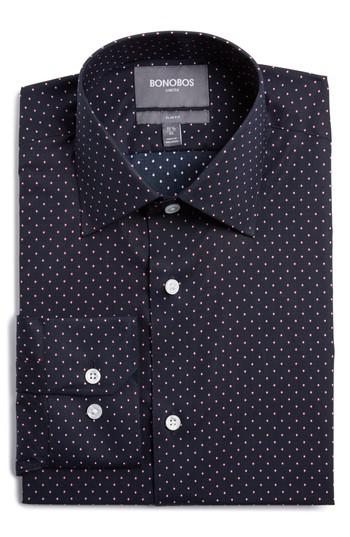 Bonobos slim fit dot dress shirt in blue for men lyst for Nordstrom custom dress shirts