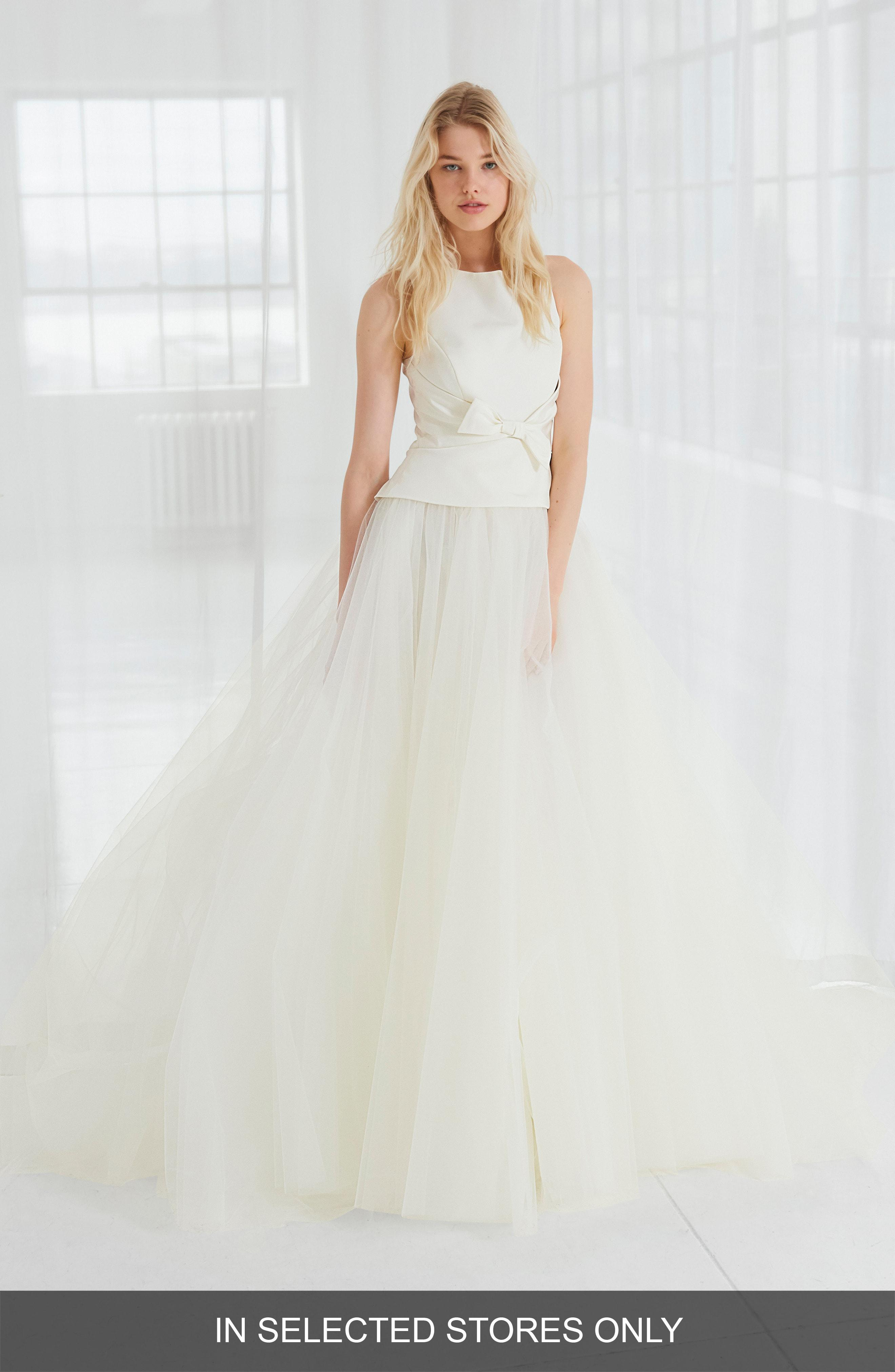 76deaffa66ed3 Lyst - Amsale Miller Faille & Tulle Ball Gown in White