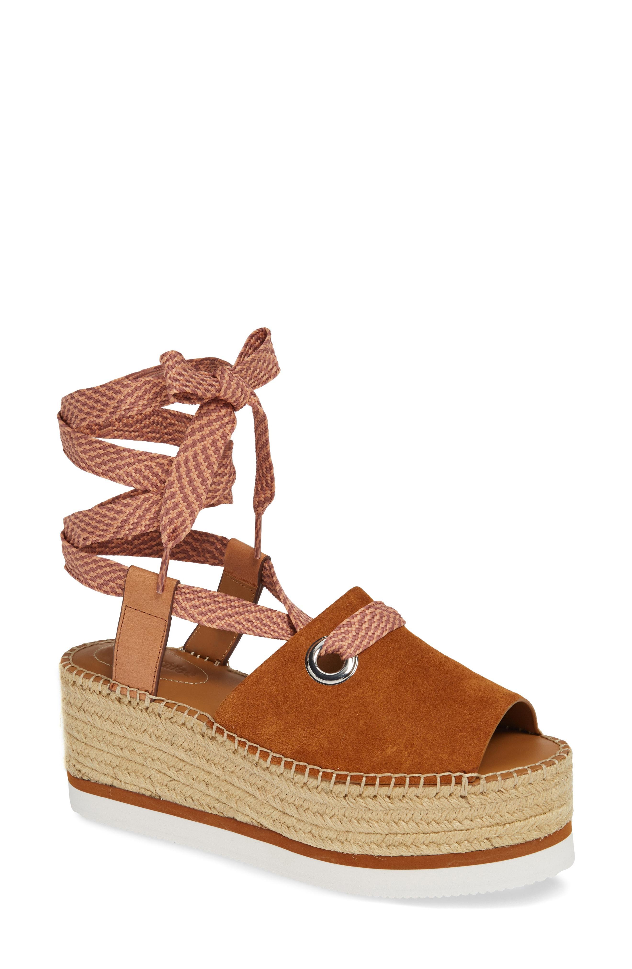 1c6161342905 Lyst - See By Chloé Glyn Amber Platform Ankle Wrap Sandal in Brown