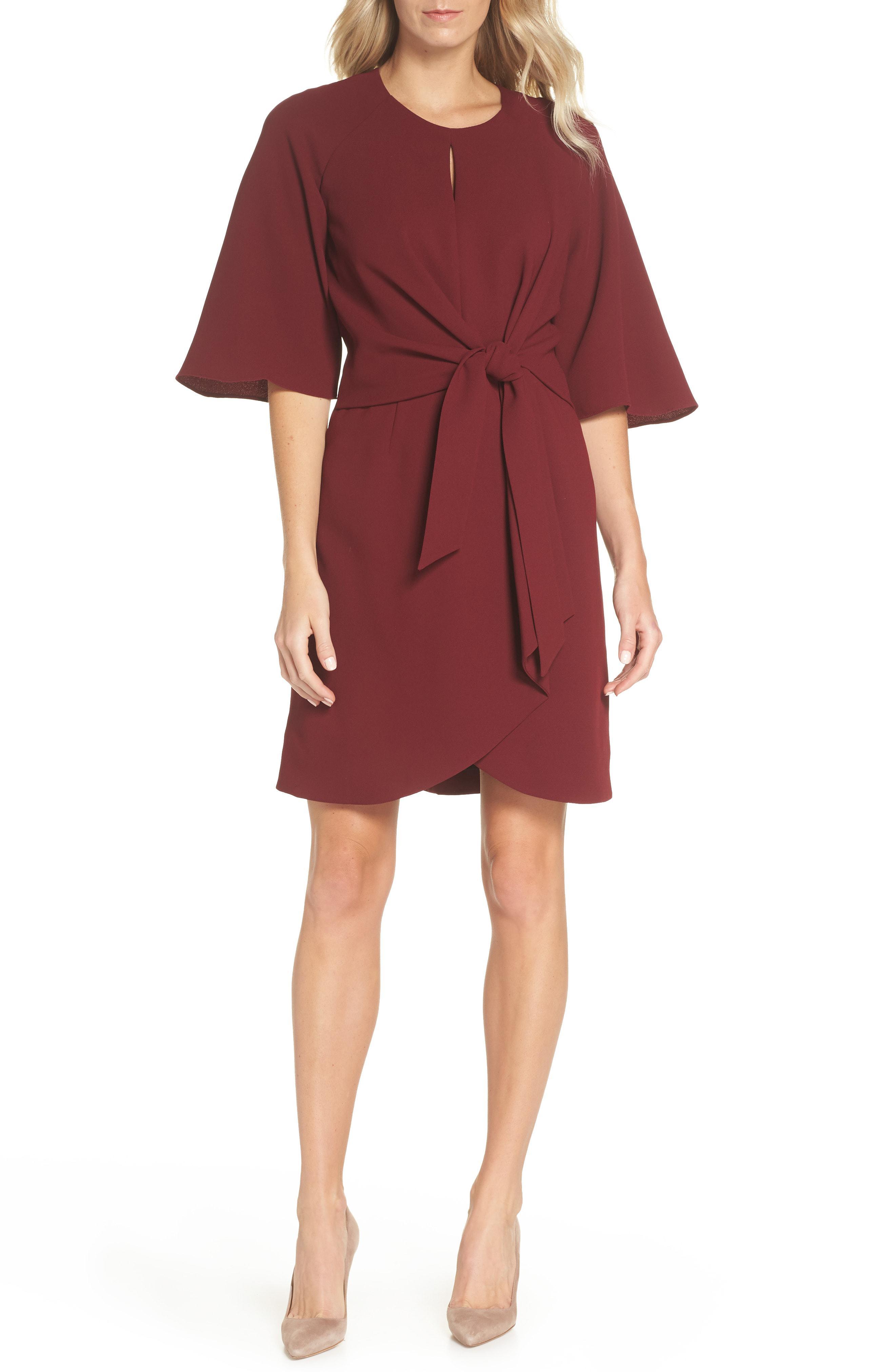 3683cdb2b9ee Lyst - Tahari Tie Front Crepe Dress in Red