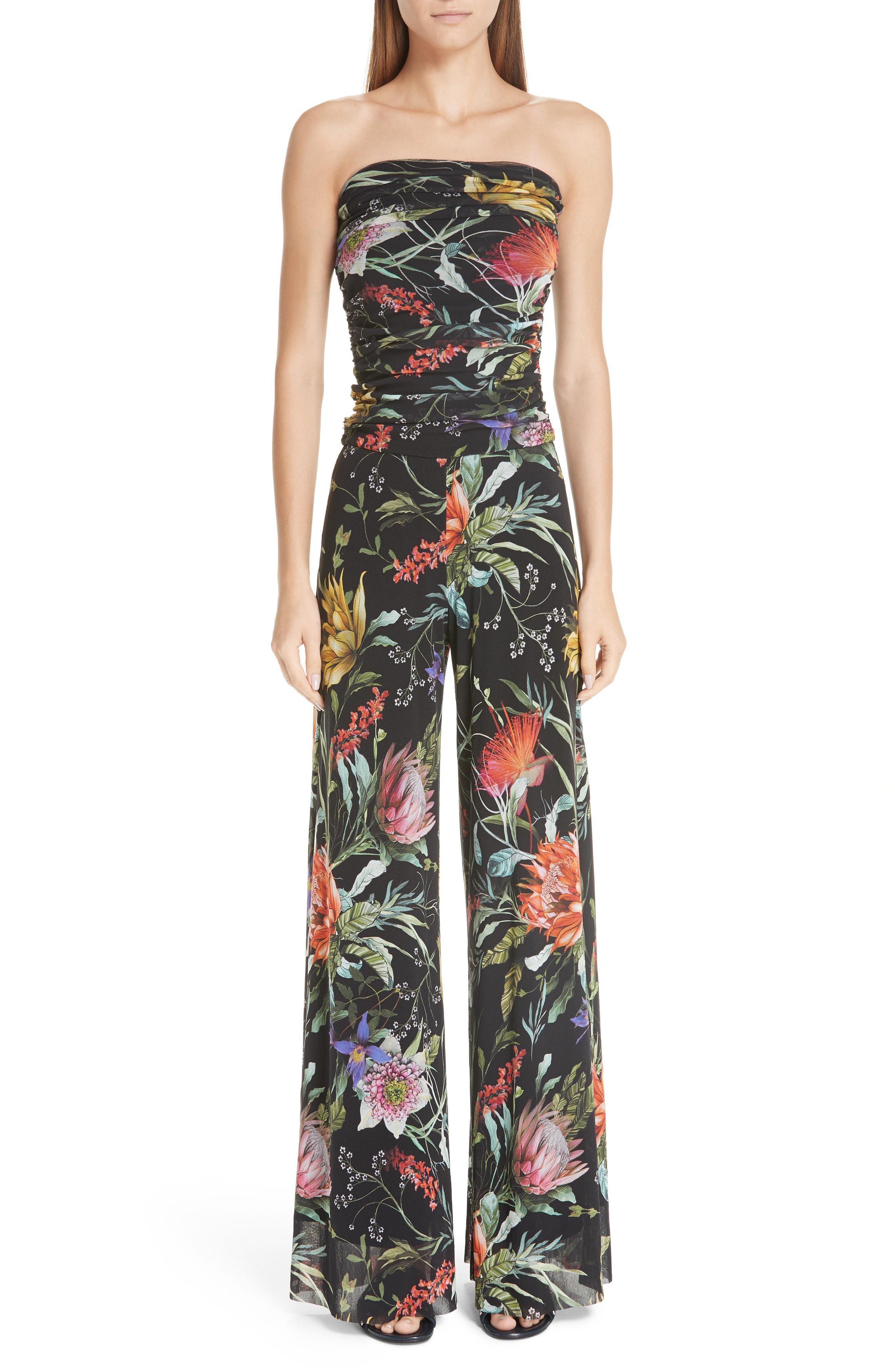 f3526c3fbec Fuzzi - Black Floral Tulle Strapless Jumpsuit - Lyst. View fullscreen
