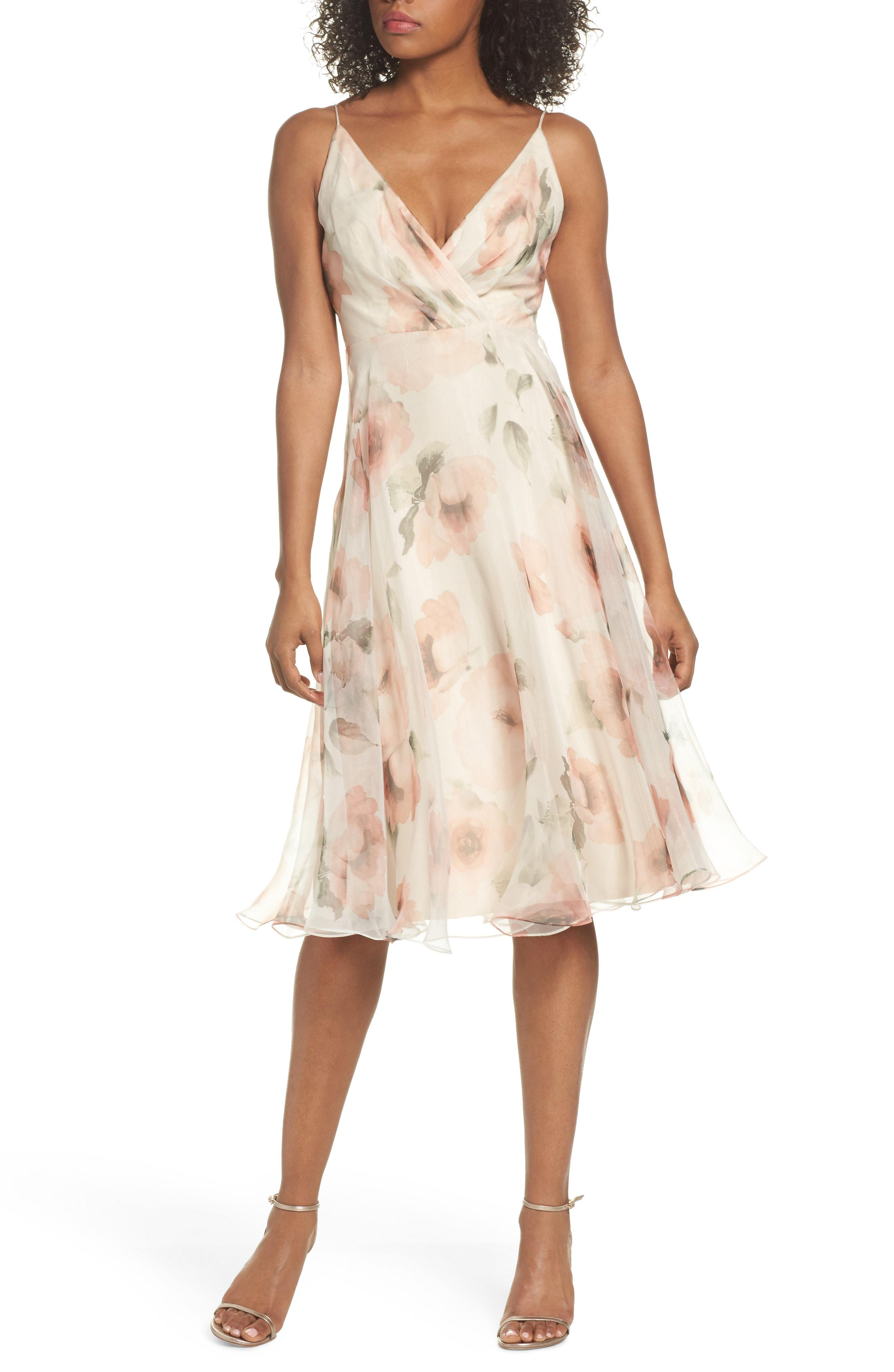 8532100ebe Jenny Yoo Sabrina Floral Chiffon A-line Midi Dress in Pink - Lyst